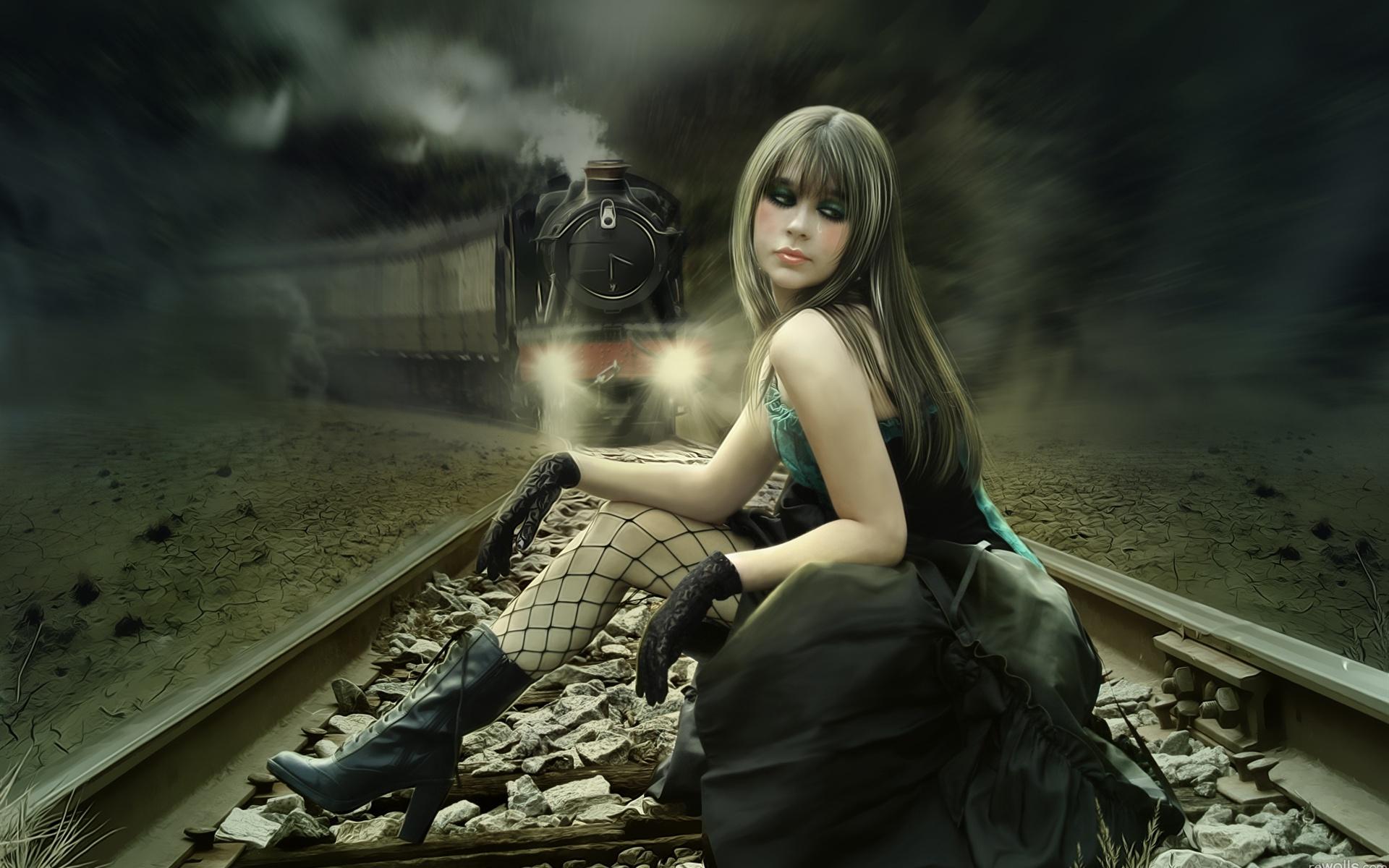 Hintergrundbilder beschreibung das fantasy mädchen auf den gleisen