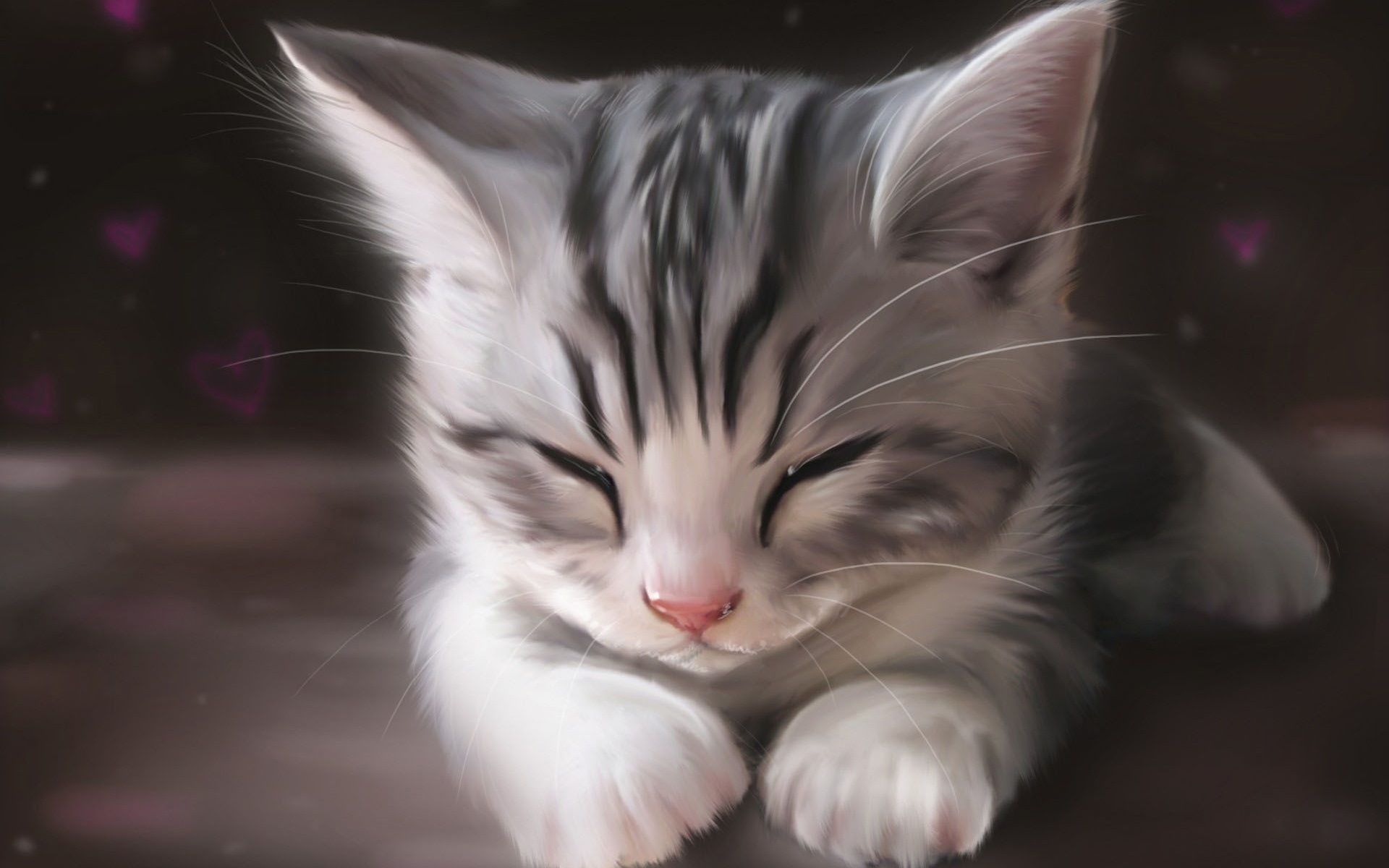 wallpaper art watercolor, cute cat sleeping 1920x1200 hd picture, image