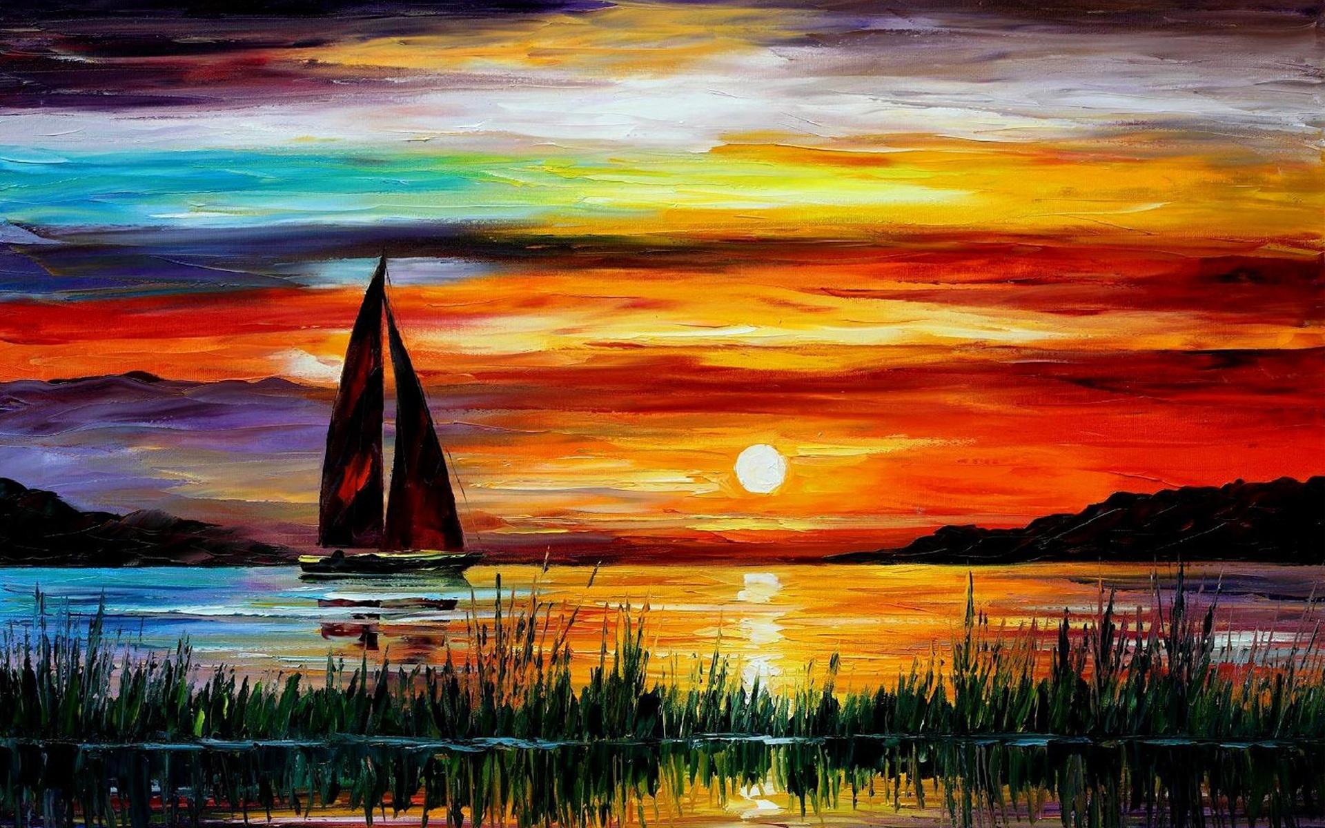 Fondos de pantalla exquisito pintura puesta del sol barco for Fondo del sol