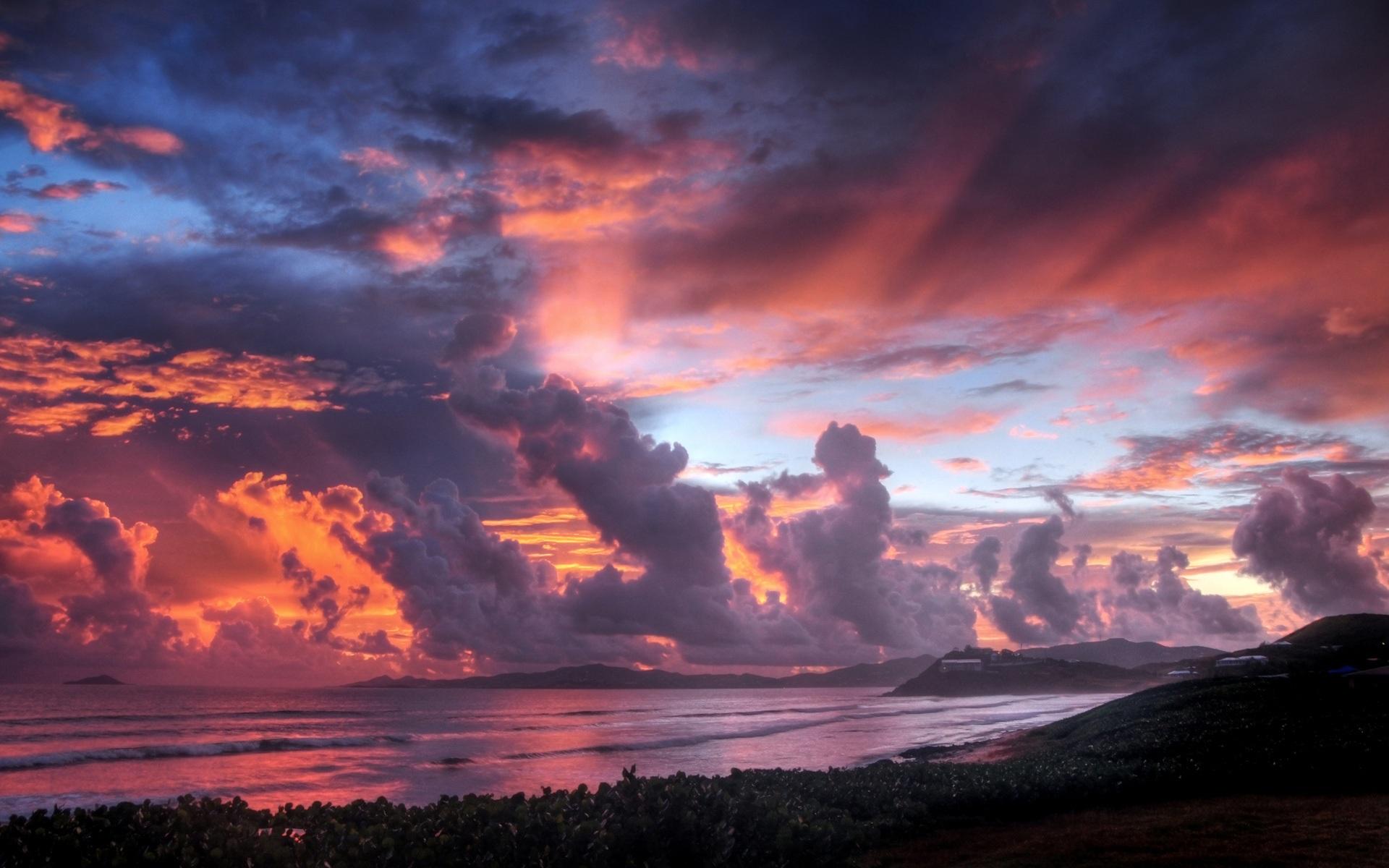 天空 雲彩 壁紙 1920x1200 壁紙 描述 海邊 的 夕陽 天空
