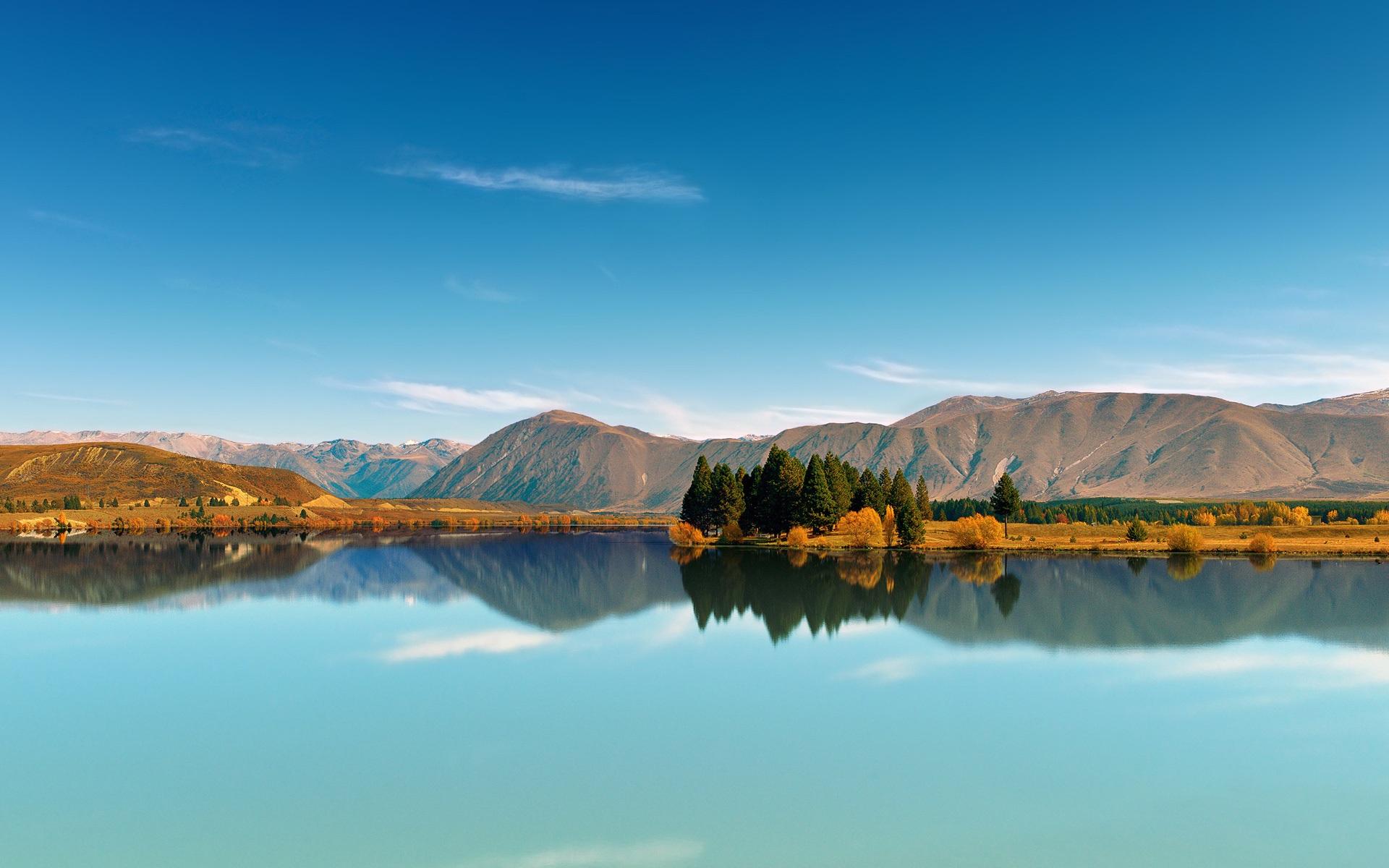 природа озеро деревья отражение горы загрузить
