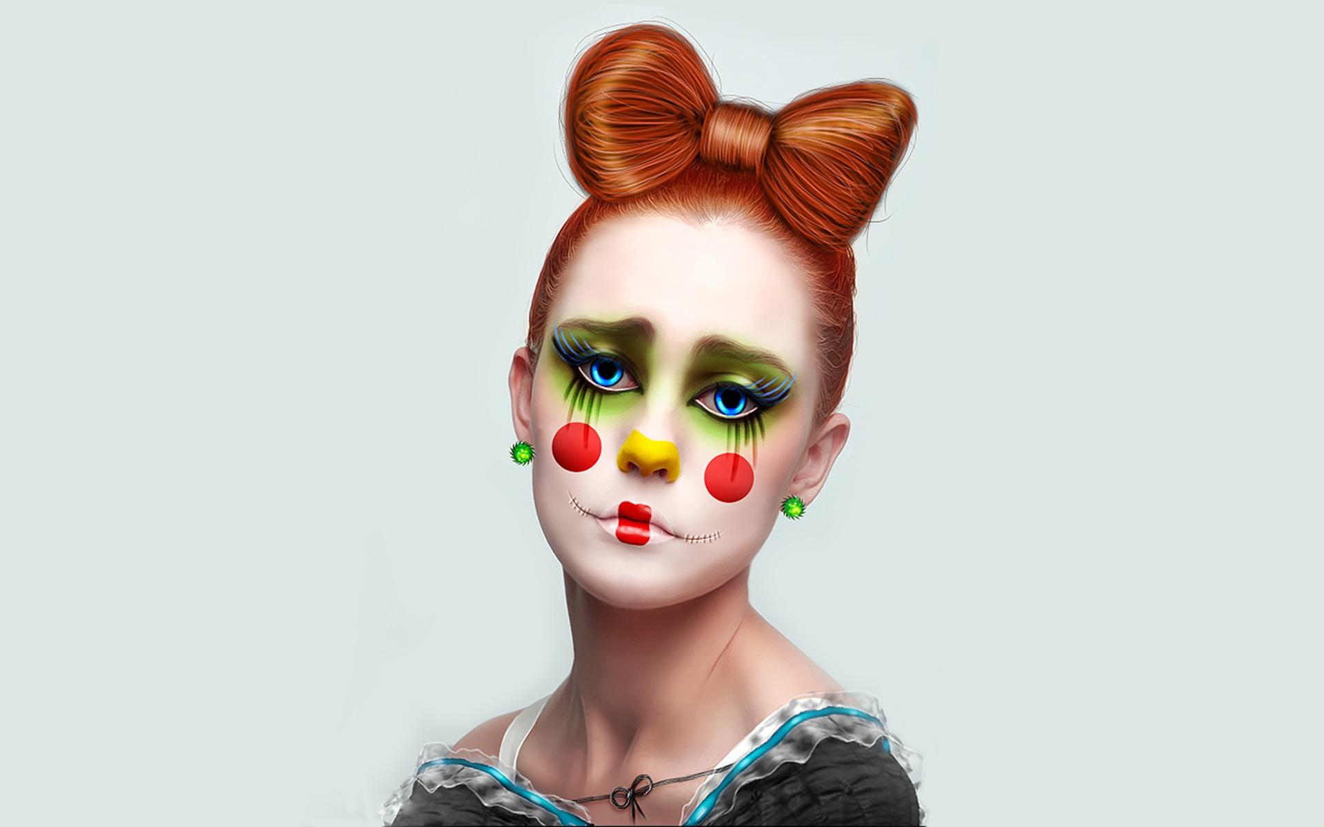 Download Wallpaper 1920x1200 Clown girl, brown hair HD ...