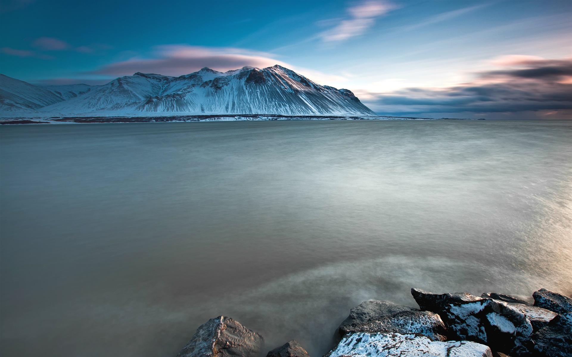 Montaña Nevada 1024x768: Fondos De Pantalla Islandia Encantador Paisaje, Mar