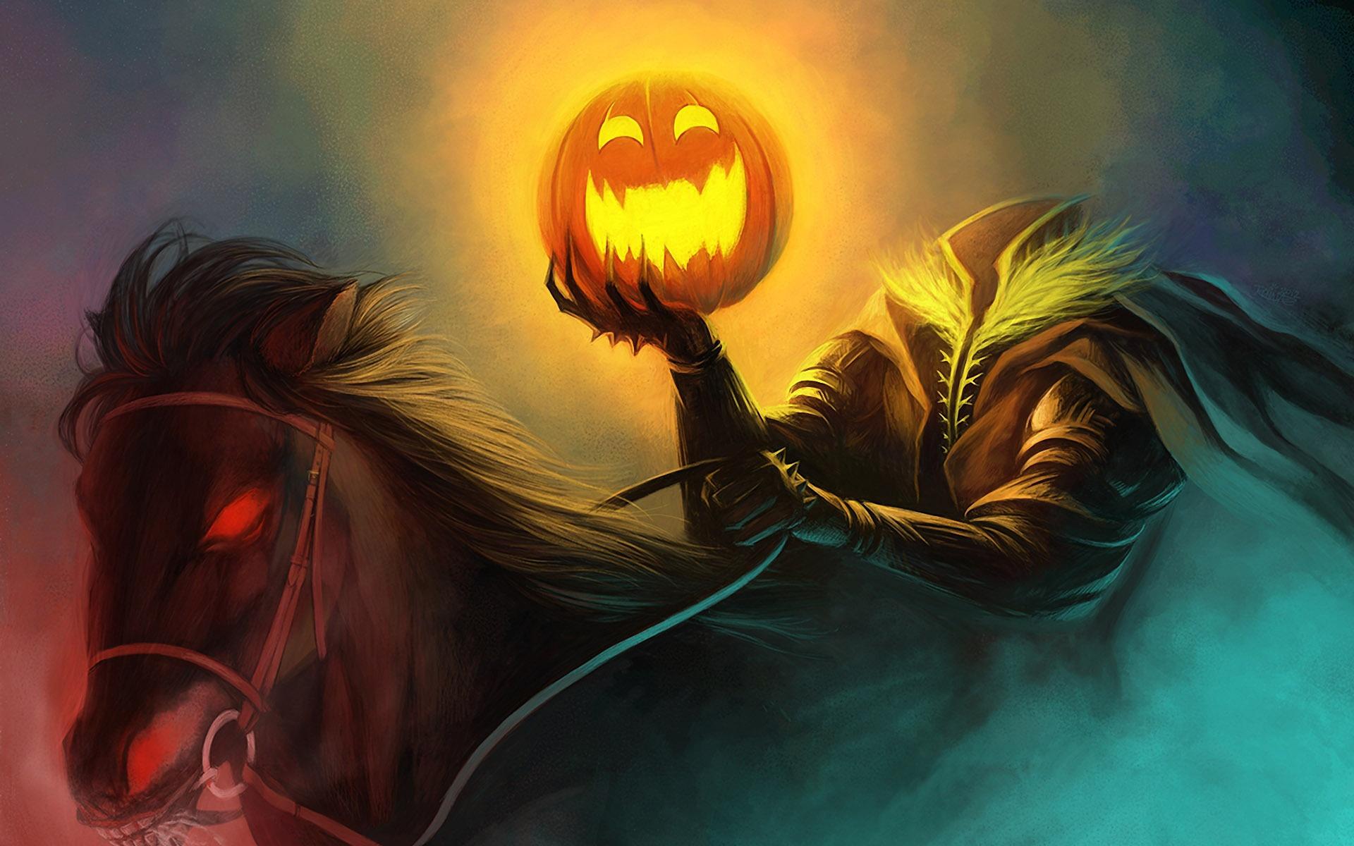 Wallpaper Art Painting Halloween Horseman Pumpkin Light Horse