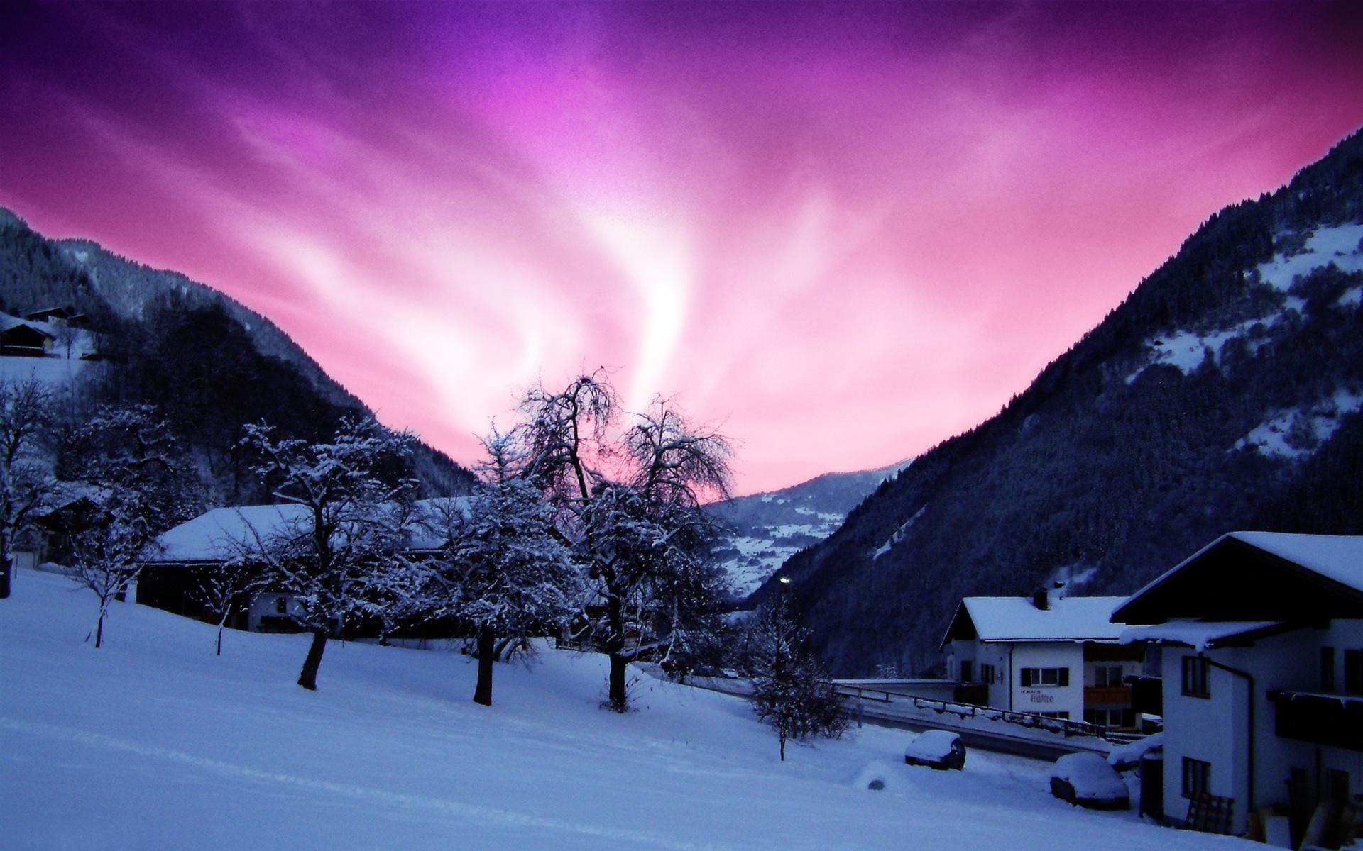 Холодная зима дом снег обои 1920x1200