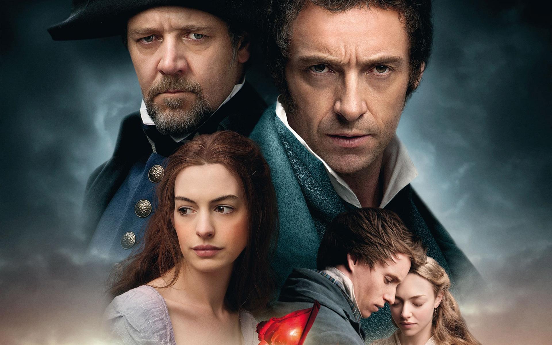 主要登場人物5人の2012年の映画レ・ミゼラブルの壁紙