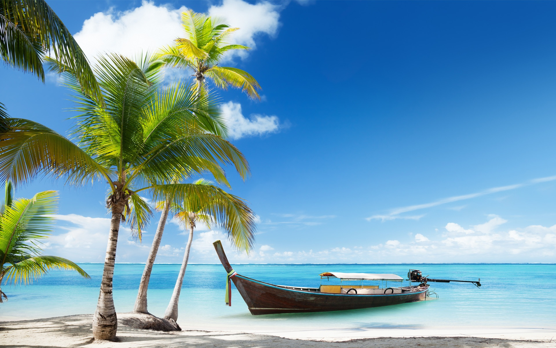 Hd Tropical Island Beach Paradise Wallpapers And Backgrounds: Wallpaper Palm Trees, Boat, Tropical Sea, Beach Sand
