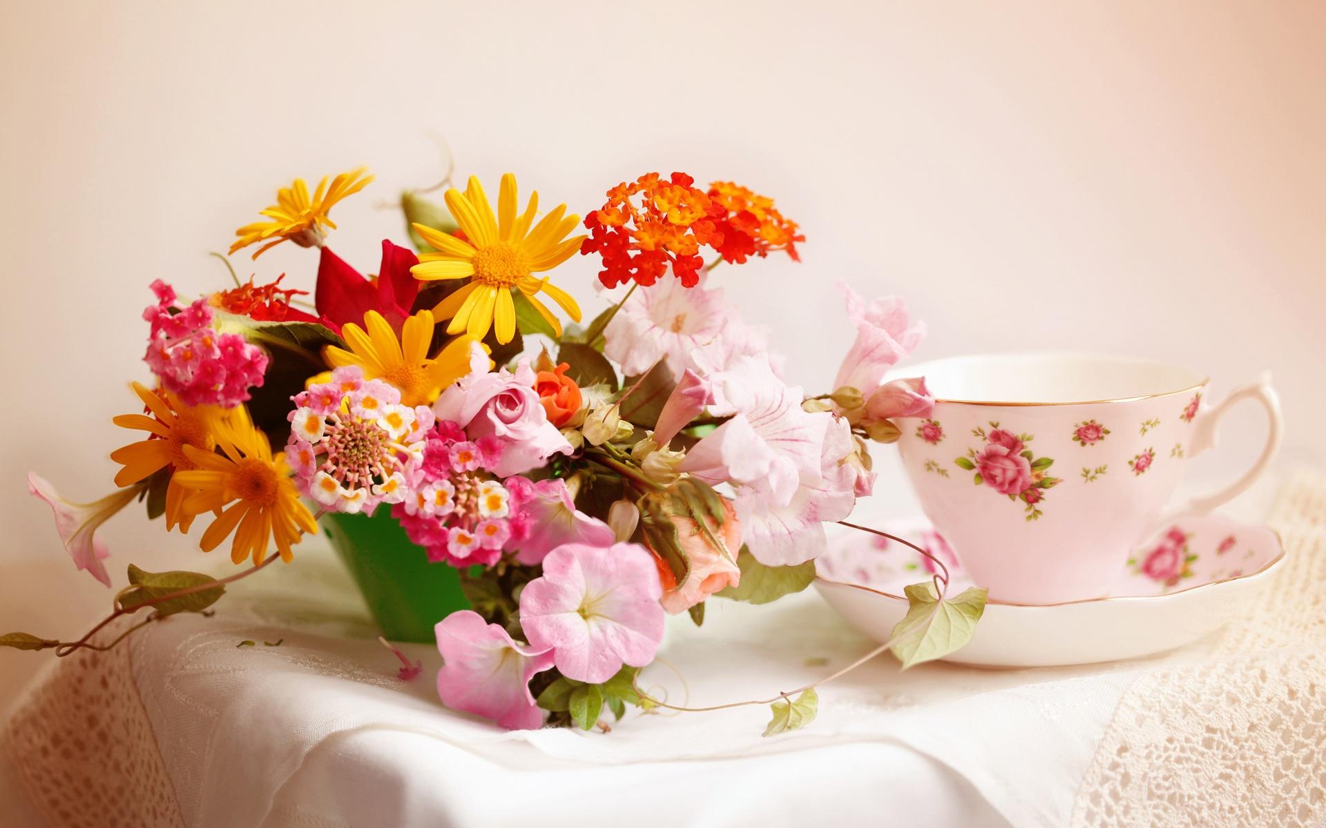 Fondos De Pantalla Inicio Arreglos Florales Mesa Taza De