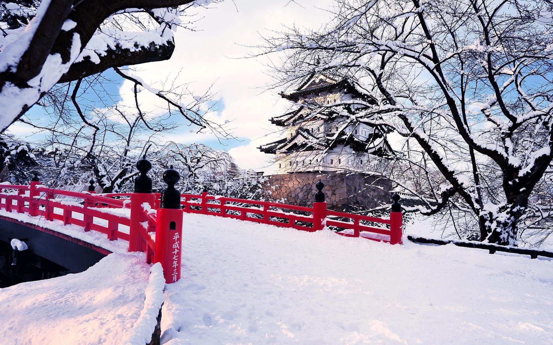 снег деревья мост бесплатно