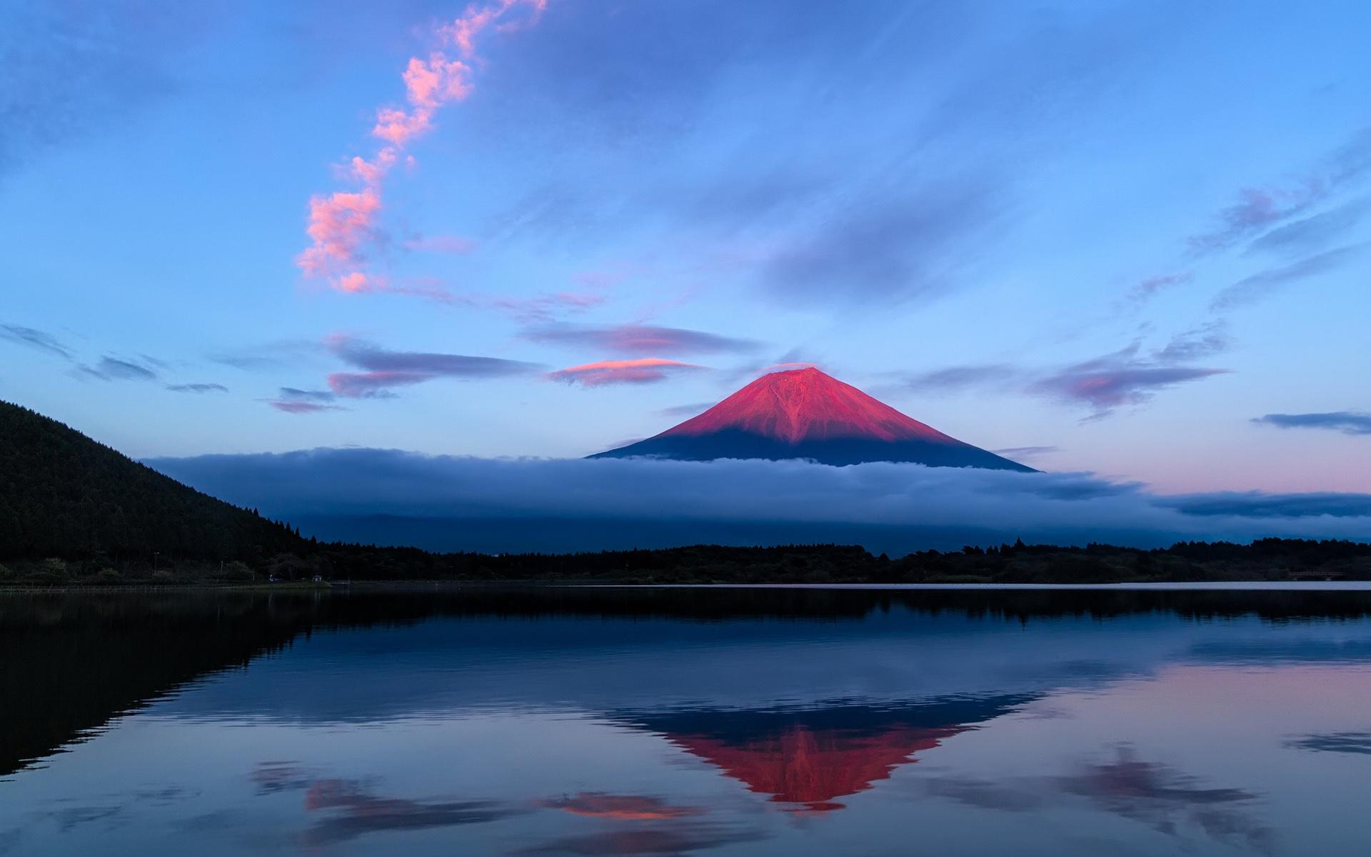 Wallpaper Japan Fuji Mountain Evening Sky Lake Reflection Blue 19x10 Hd Picture Image