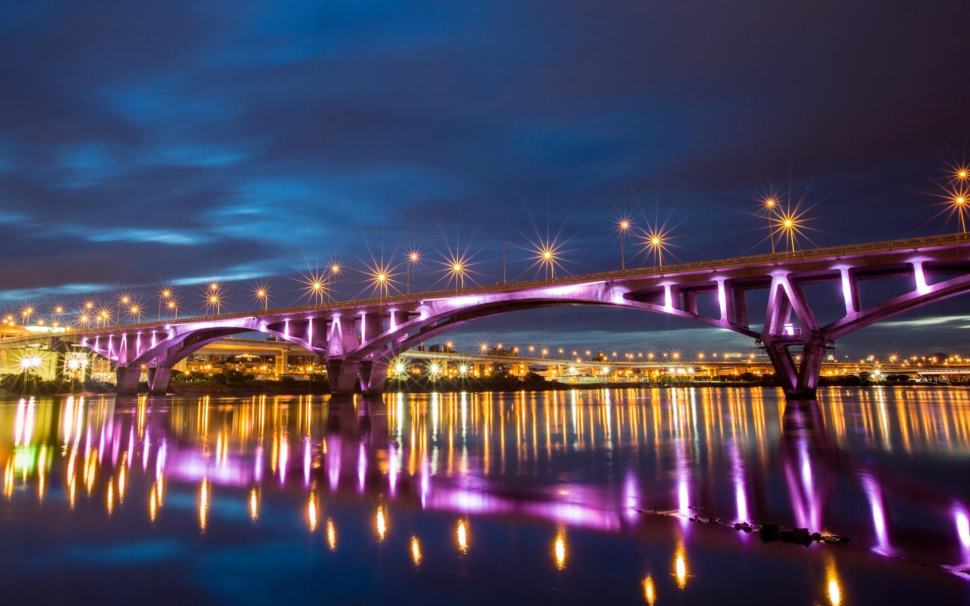 мост огни свечение ночь  № 3369579 без смс