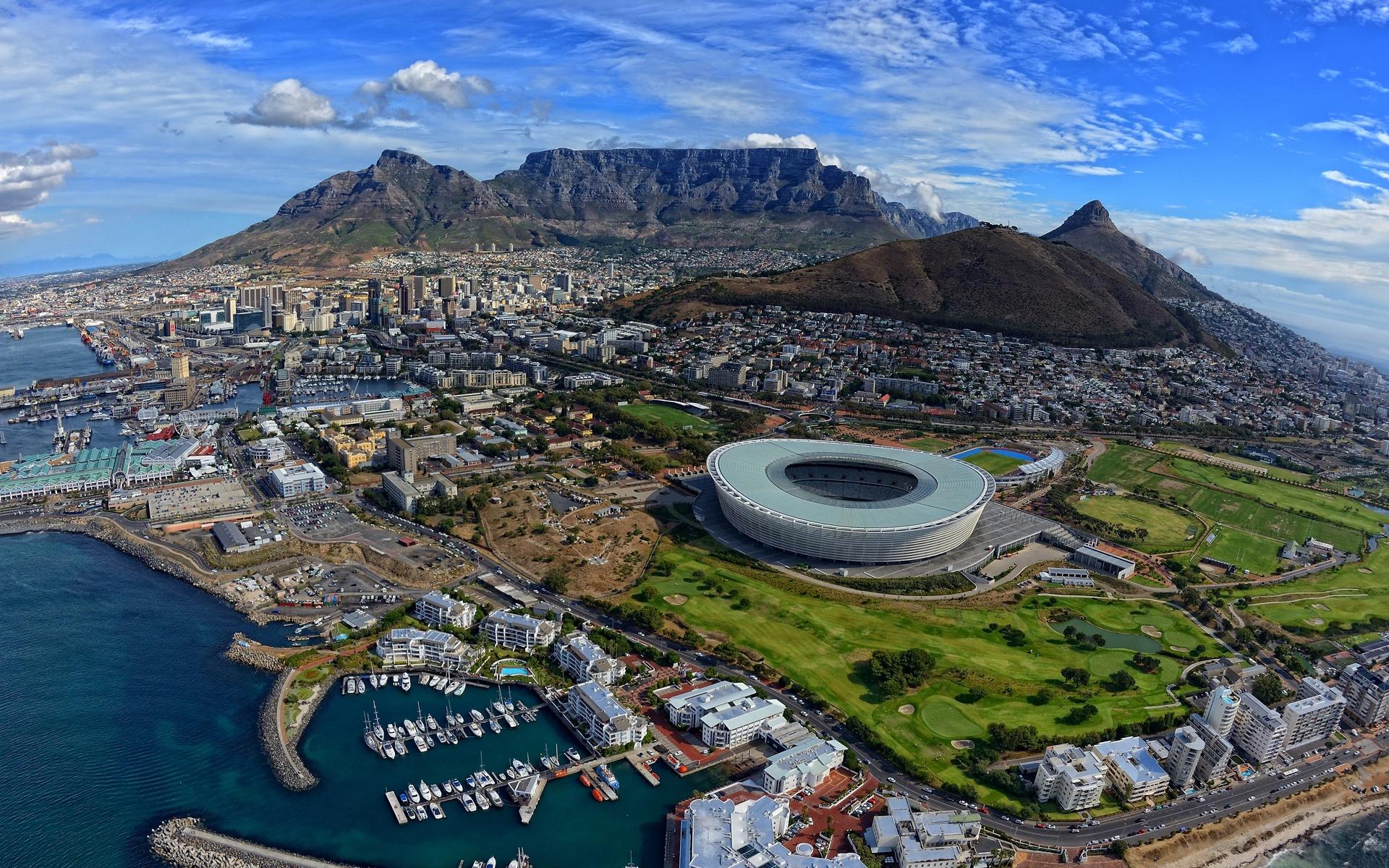頂視圖的城市,開普敦,南非,大西洋 壁紙 - 1920x1200   頂視圖的城市,開普敦,南非