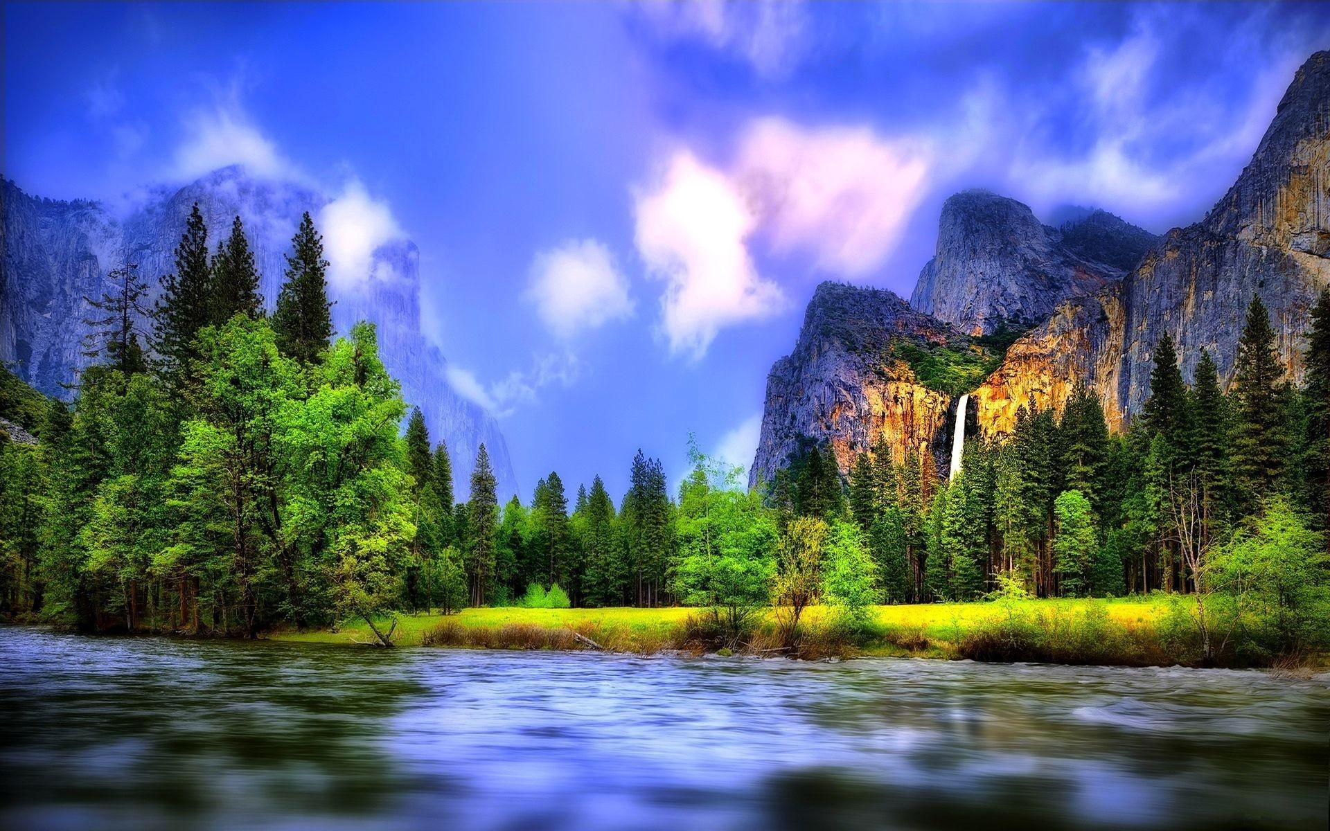 Wallpaper Beautiful Landscape River Forest Waterfalls