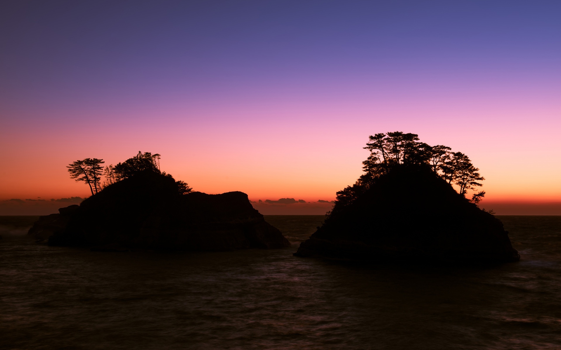 Wallpaper Japan Shizuoka Prefecture Sea Rocks Trees Evening Sunset Purple Sky 1920x1200 Hd Picture Image