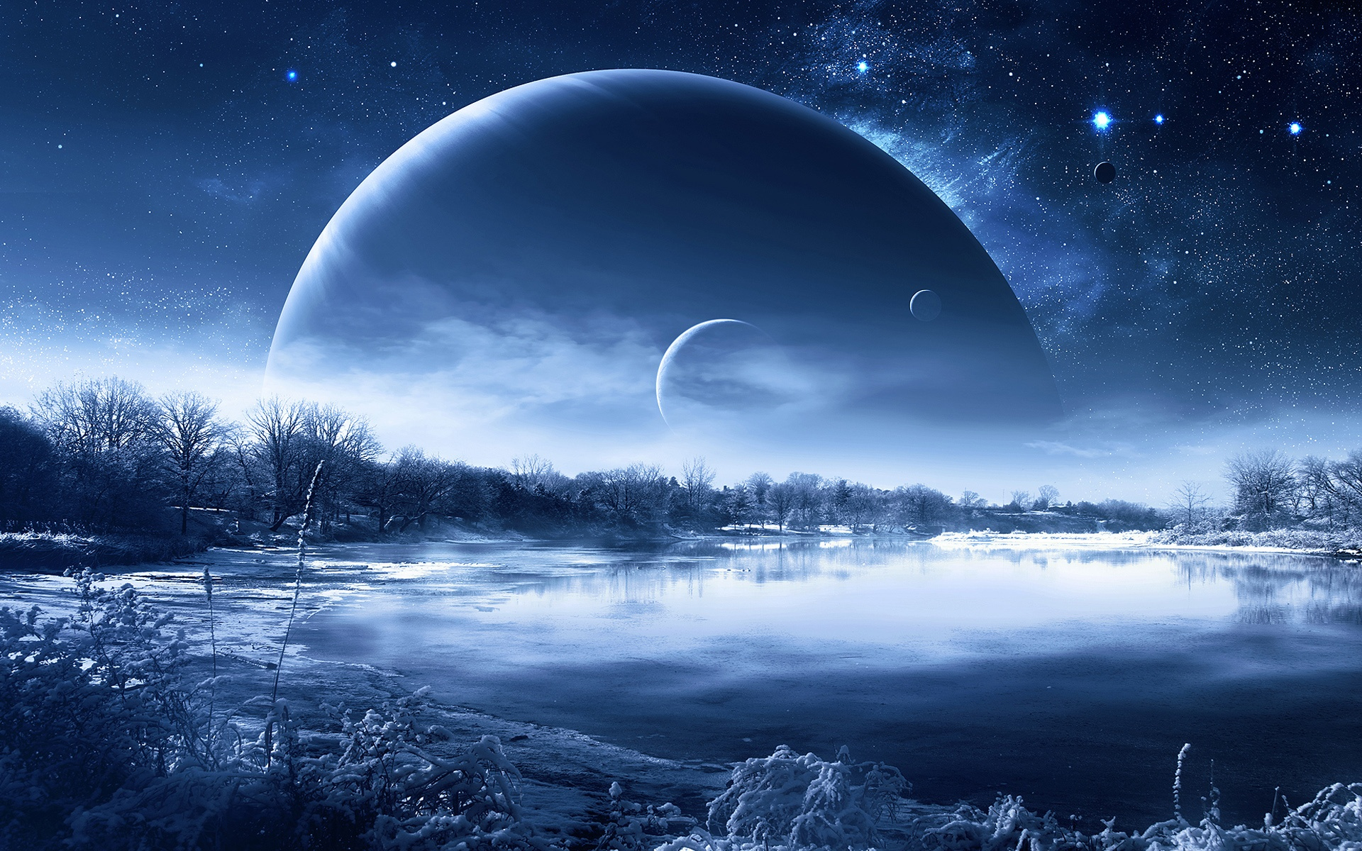 Winter snow lake trees, planets in the sky, creative design wallpaper ...