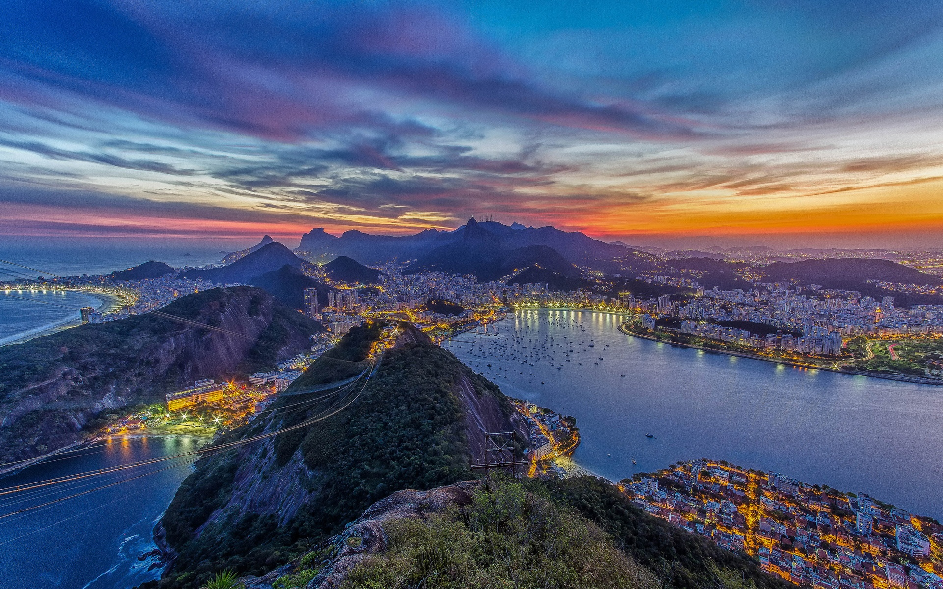Wallpaper Rio De Janeiro Beautiful City Night Lights Ocean