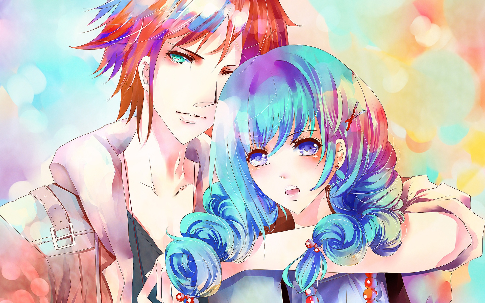 Wallpaper Blue Hair Anime Girl With A Boy 1920x1200 Hd Picture Image