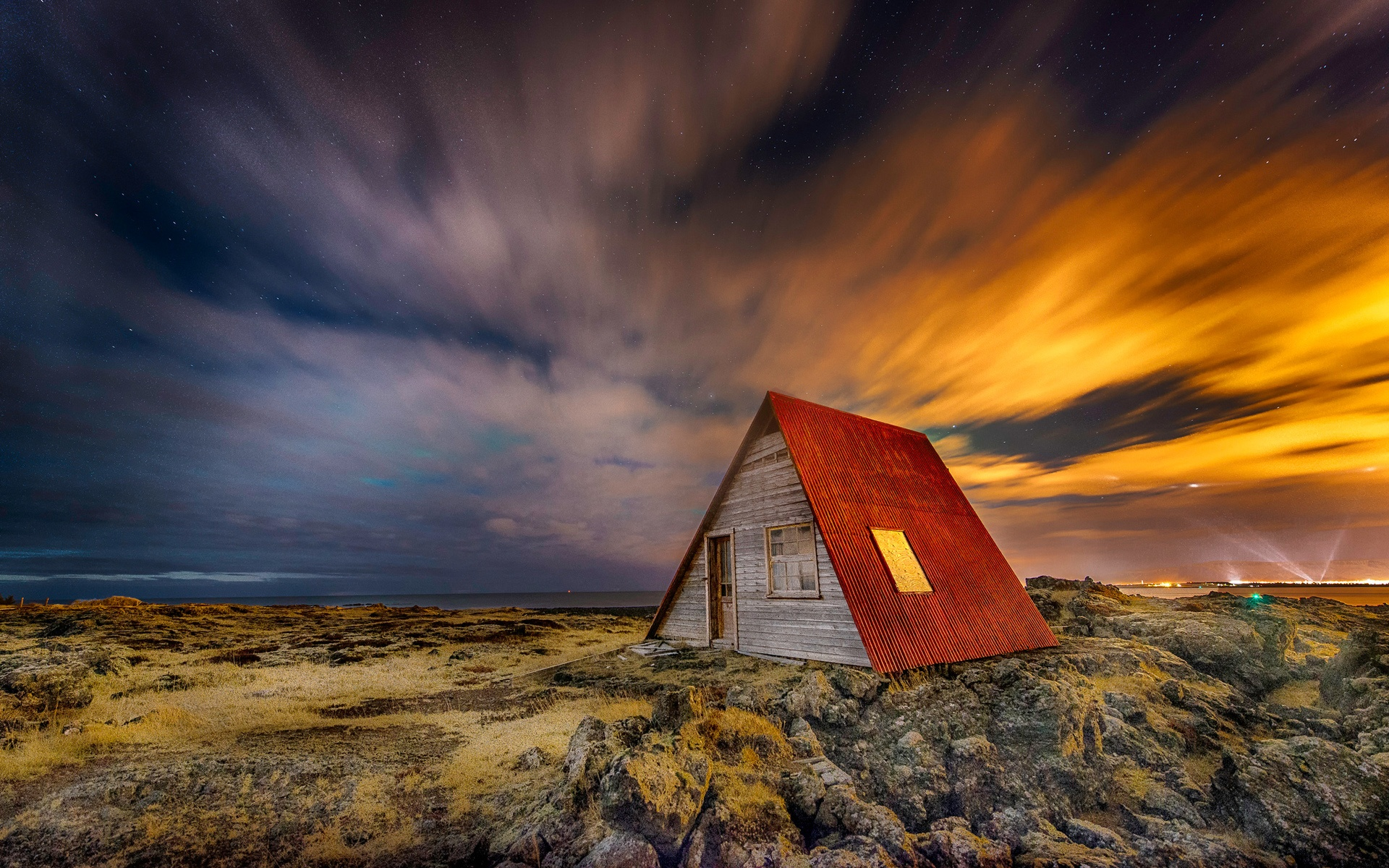 Download Wallpaper 1920x1200 Iceland Night Scenery House