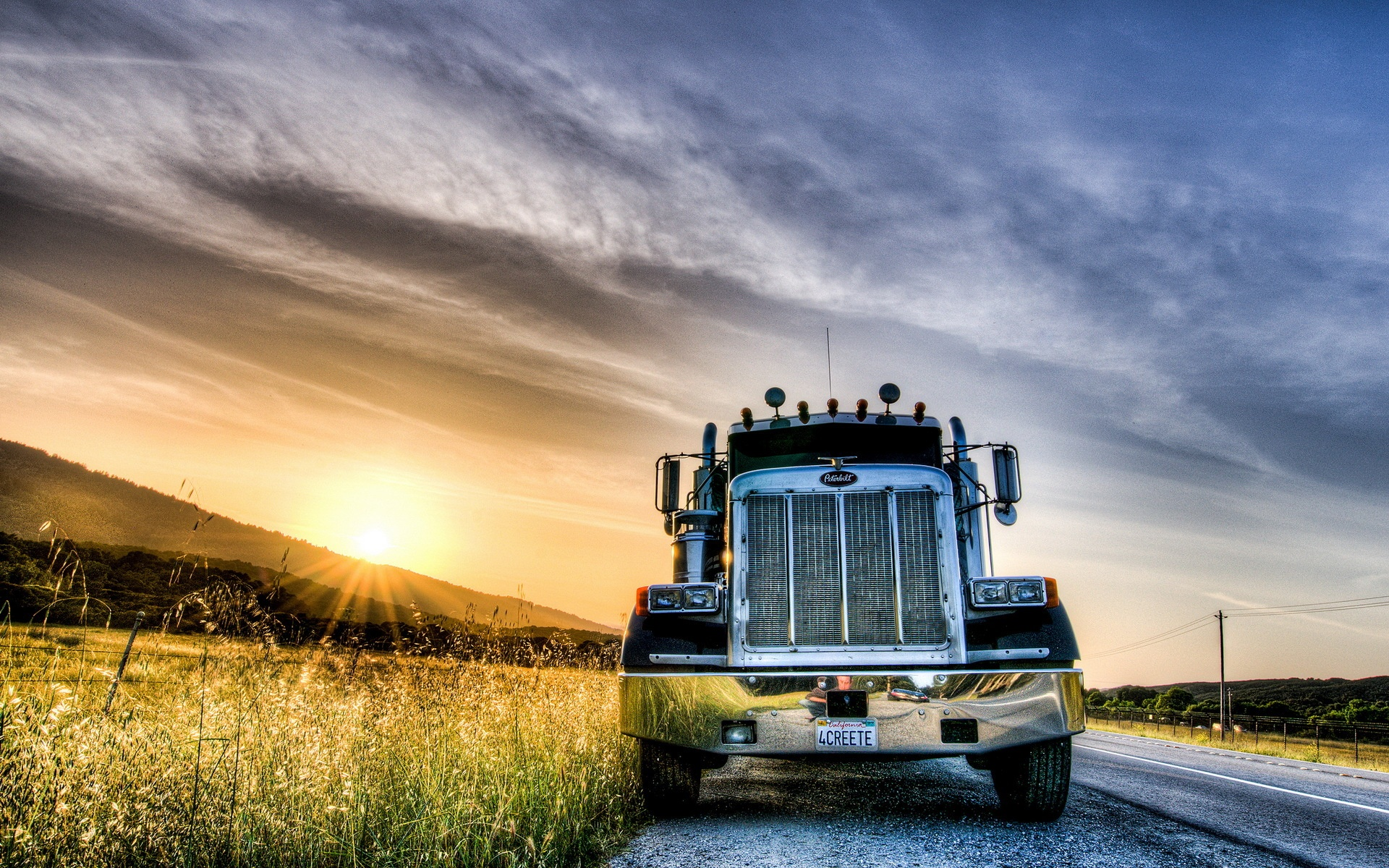 Wallpaper Sunset Road Truck 1920x1200 HD Picture Image