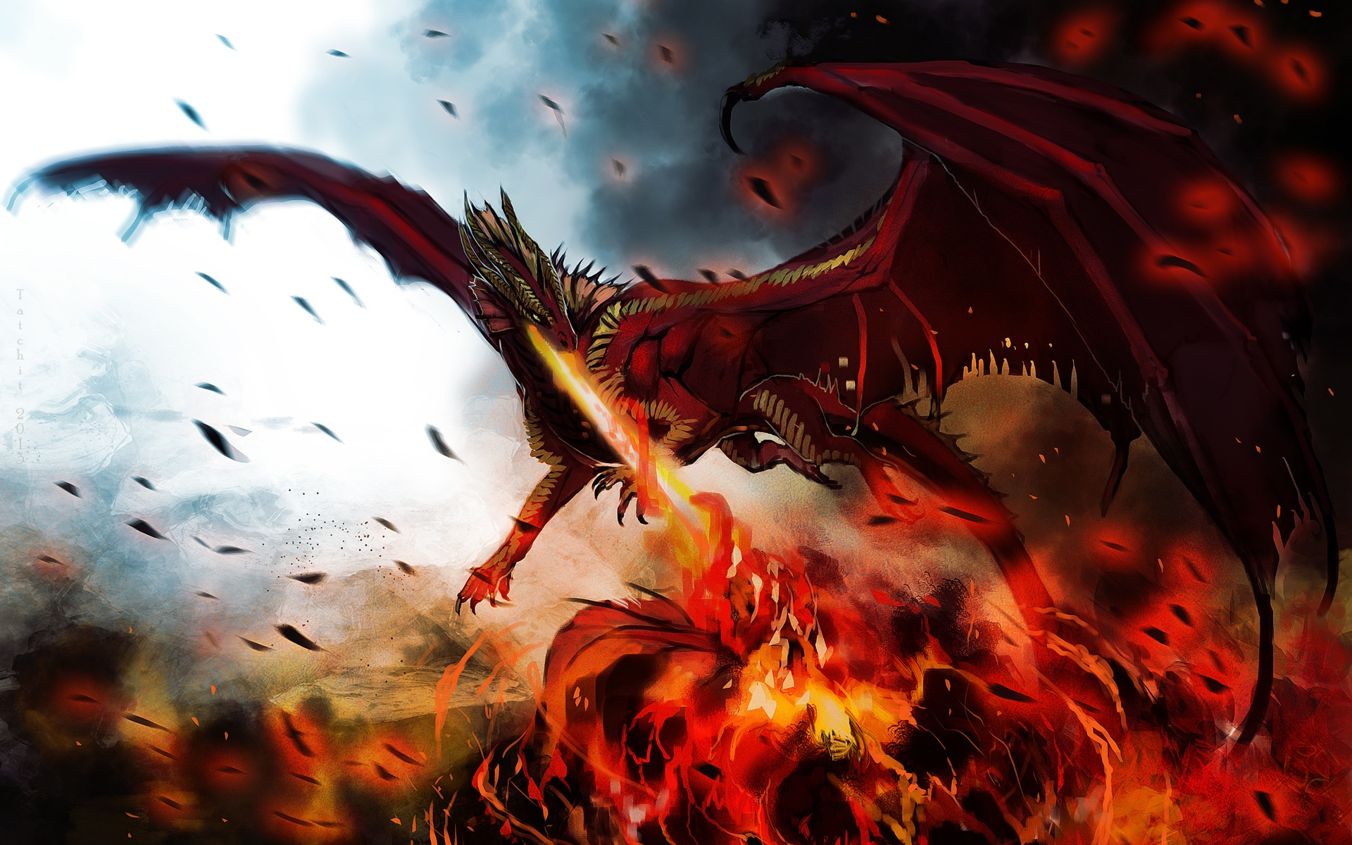 Wallpaper Art Painting Dragon Monster Wings Fire 1920x1200 Hd