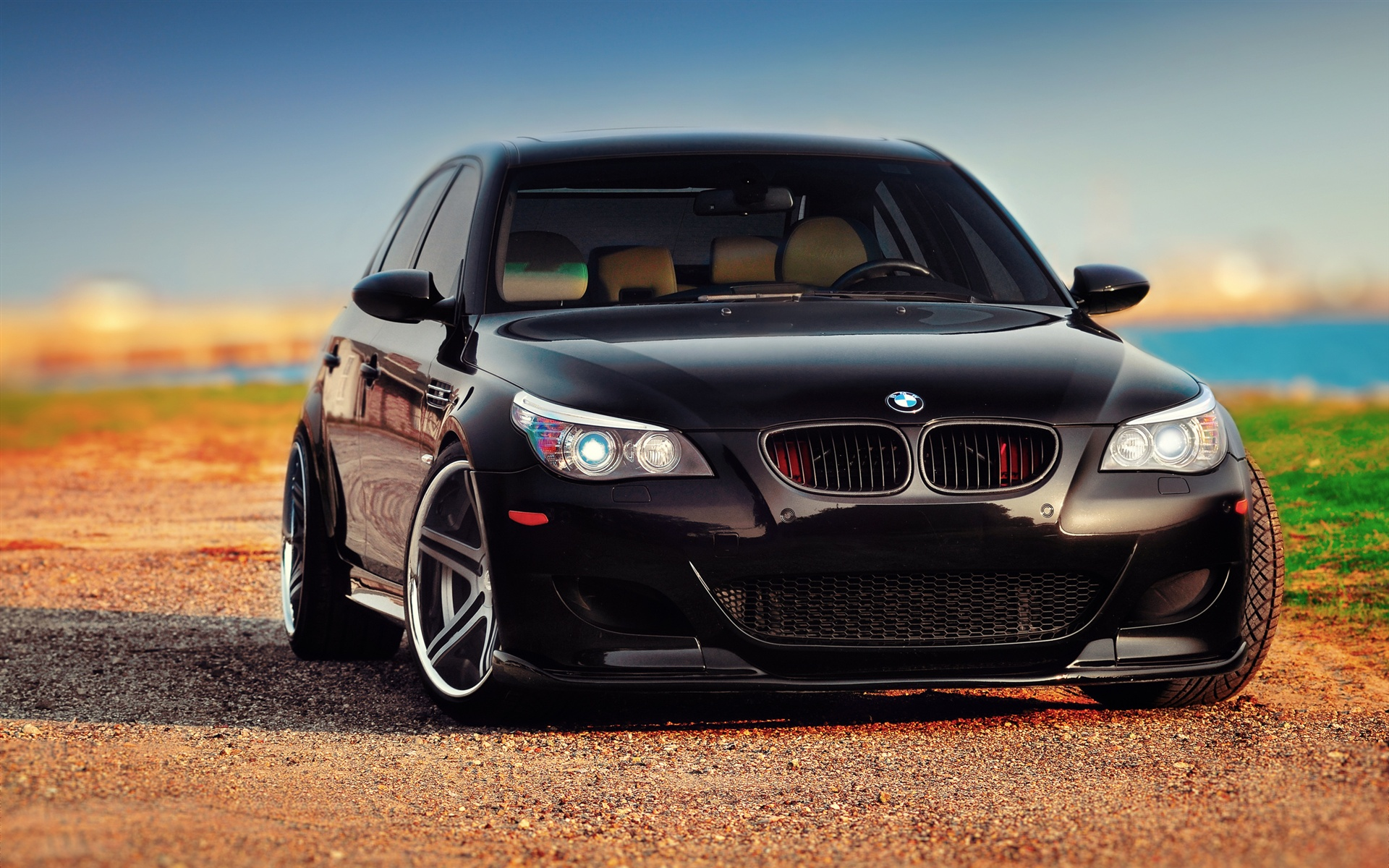 Wallpaper Bmw M5 E60 Black Car Front View 2560x1600 Hd Picture Image