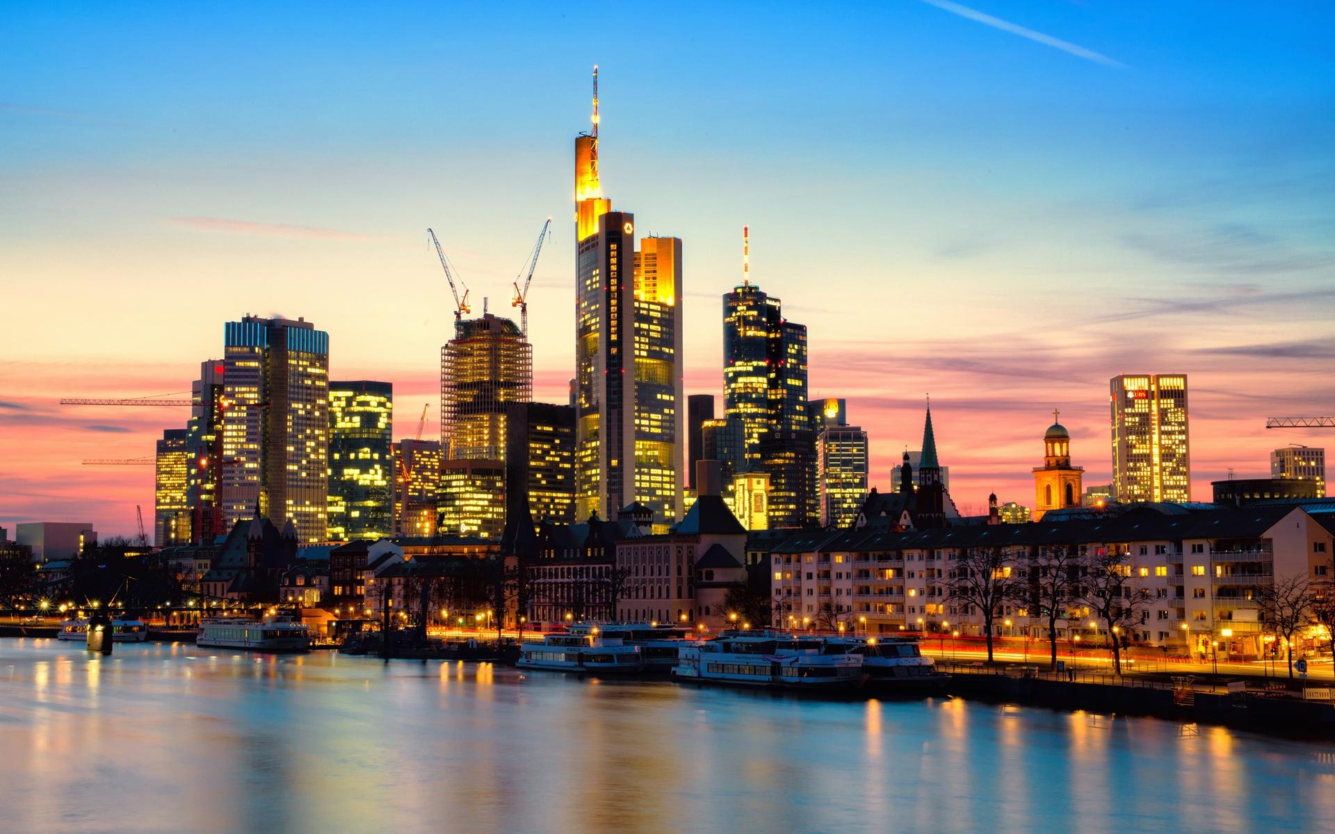 frankfurt am main deutschland stadt abend fluss lichter wolkenkratzer hintergrundbilder. Black Bedroom Furniture Sets. Home Design Ideas