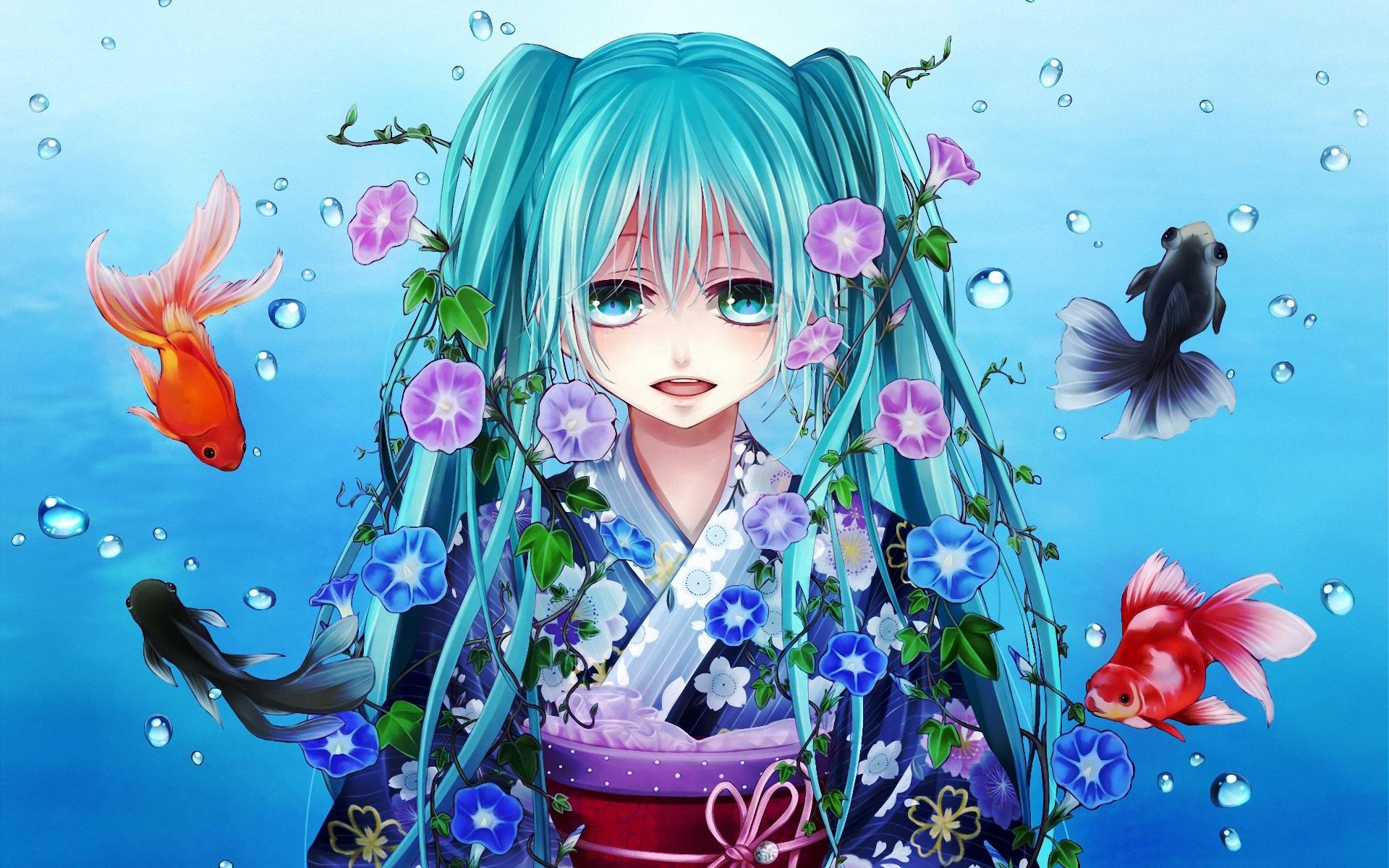 壁紙 初音ミク青い髪の少女魚水花 1920x1200 Hd 無料の