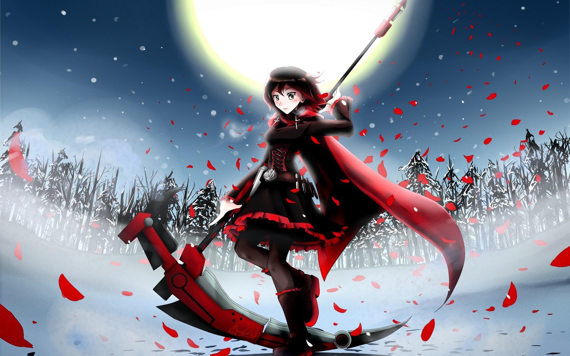 Anime Mädchen im Winter Nacht, Mond, Felder 1920x1200 HD ...