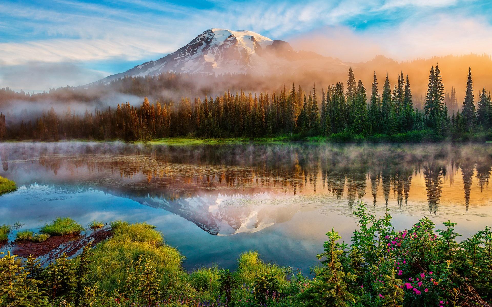 Sunrise Mountain Forest Wallpaper: Download Wallpaper 1920x1200 Washington, Cascade Mountains