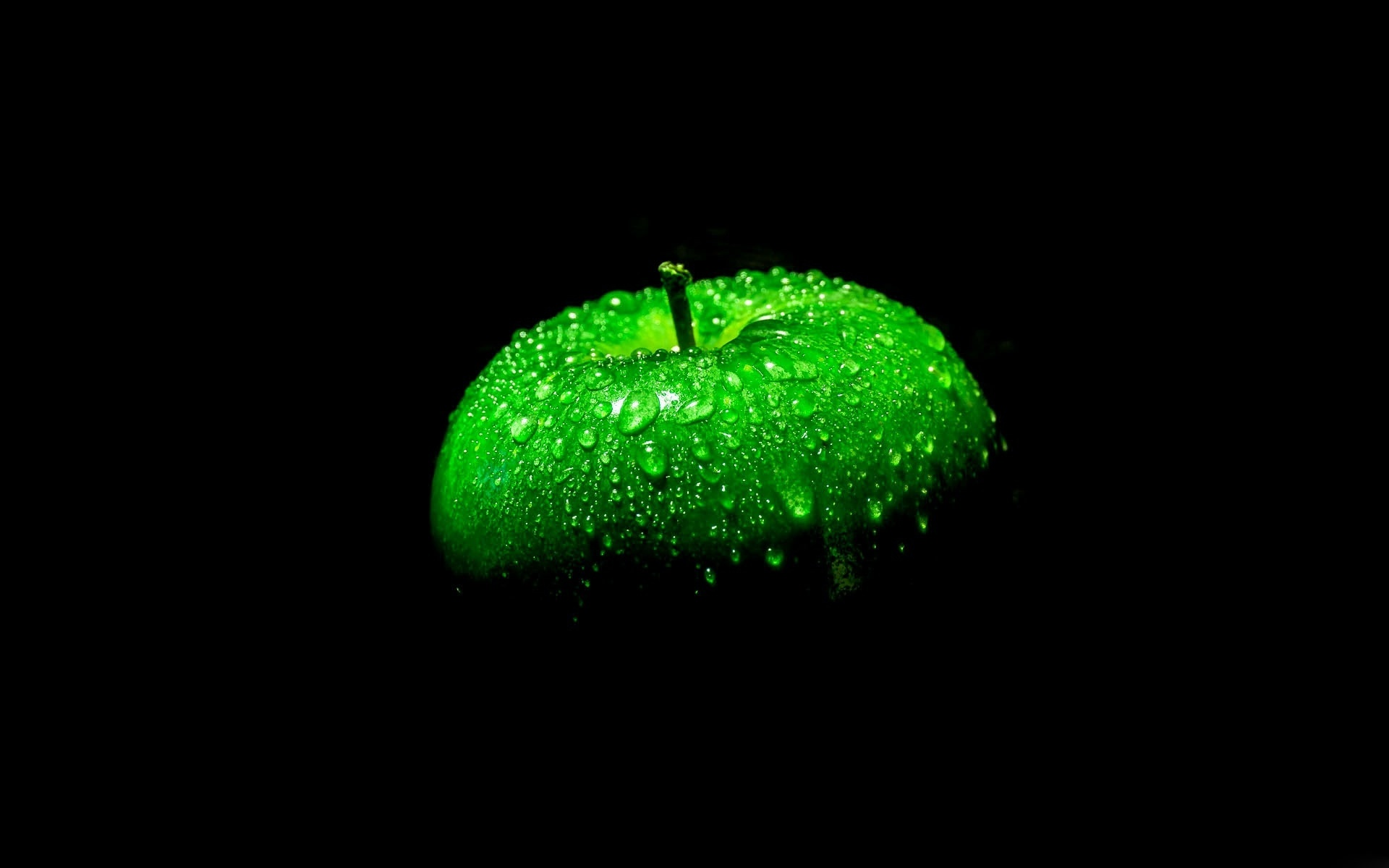 Wallpaper Green Apple Black Background 1920x1200 Hd Picture Image