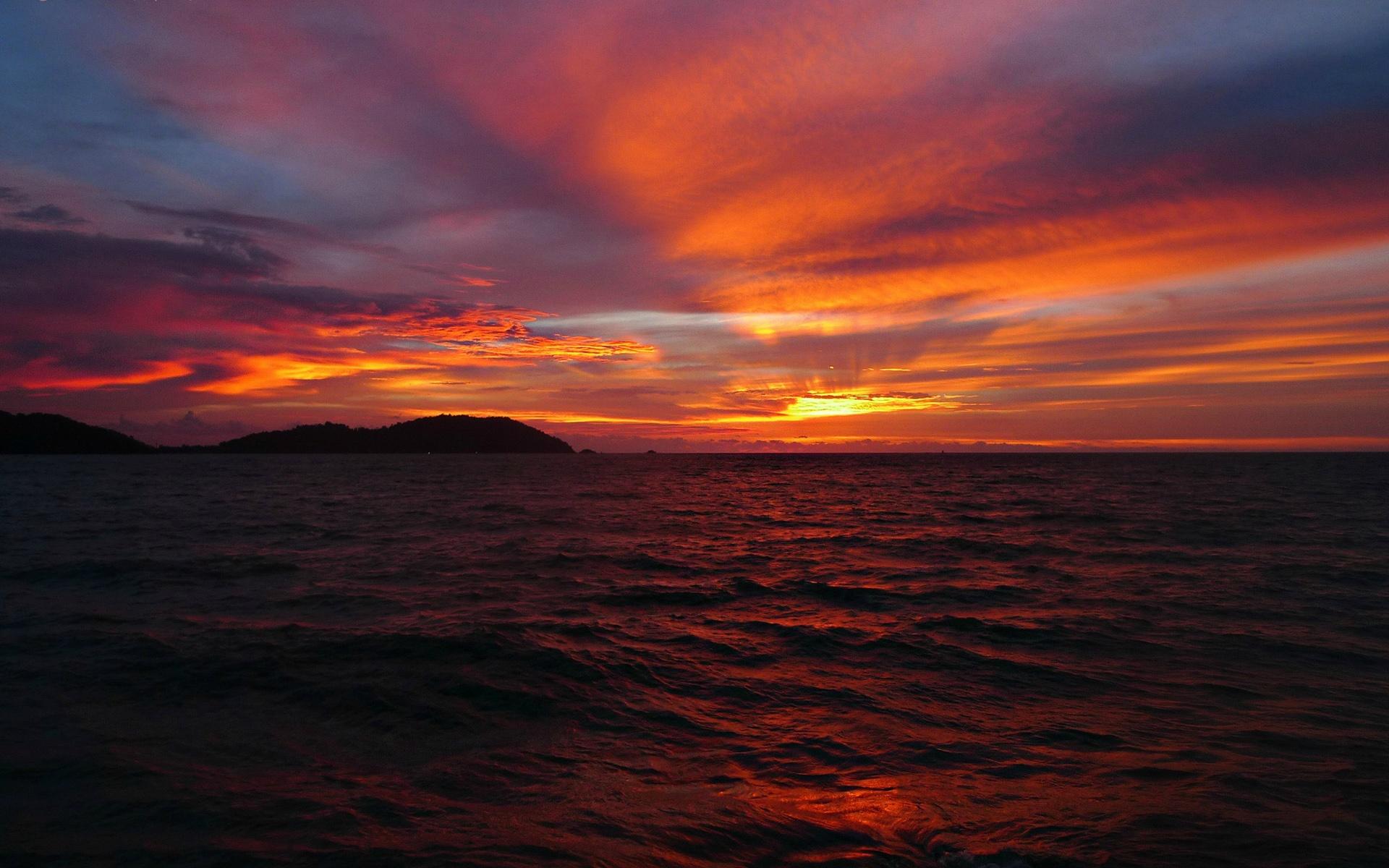 Wallpaper Sea Sky Clouds Horizon Sun Sunset Red Style