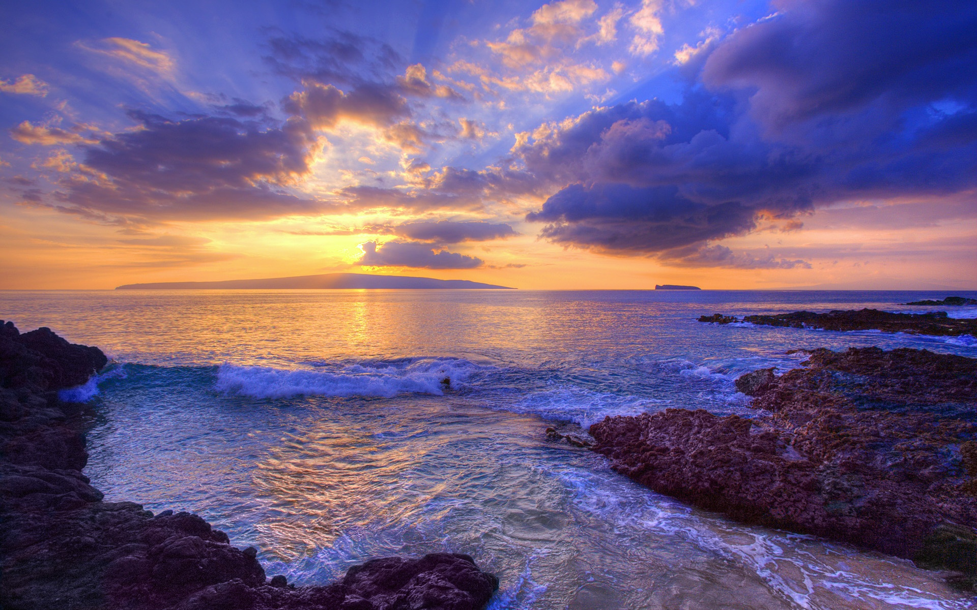 wallpaper sunset at secret beach, maui, hawaii, usa 1920x1200 hd