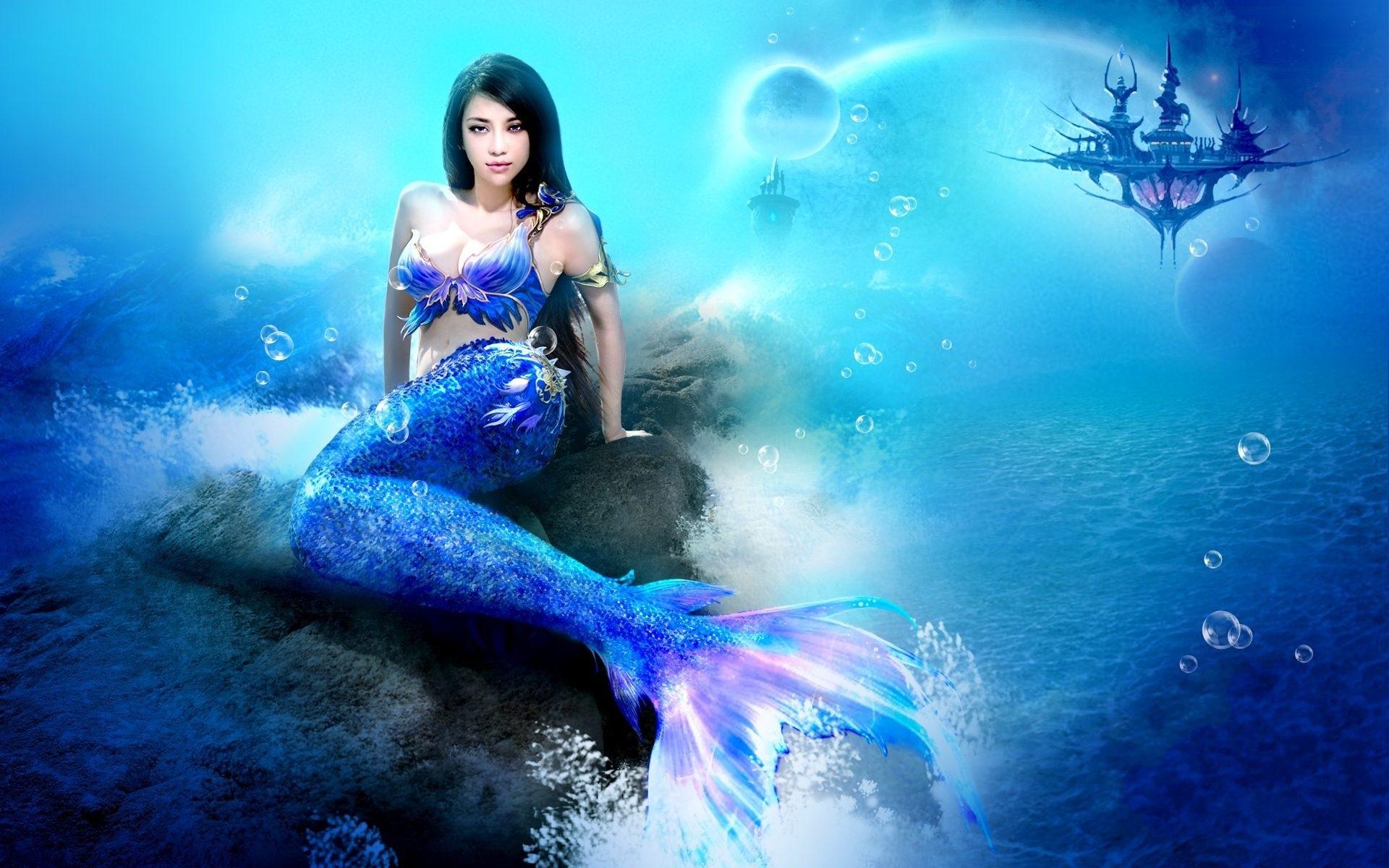 Download Wallpaper 1920x1200 Fantasy girl, mermaid, sea ...