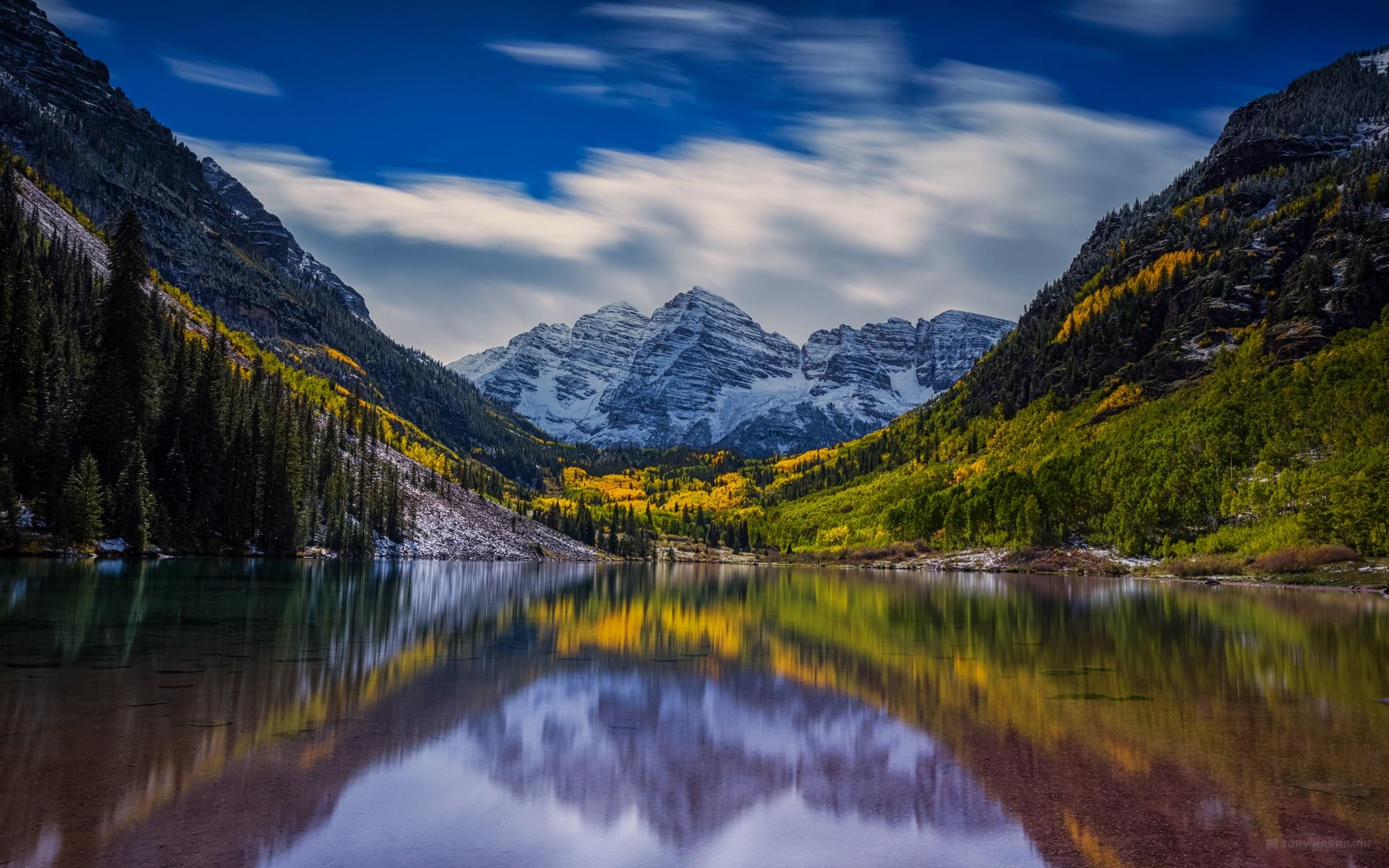 Fonds d'écran Montagne, forêt, lac, réflexion, paysage calme 1920x1200 HD image