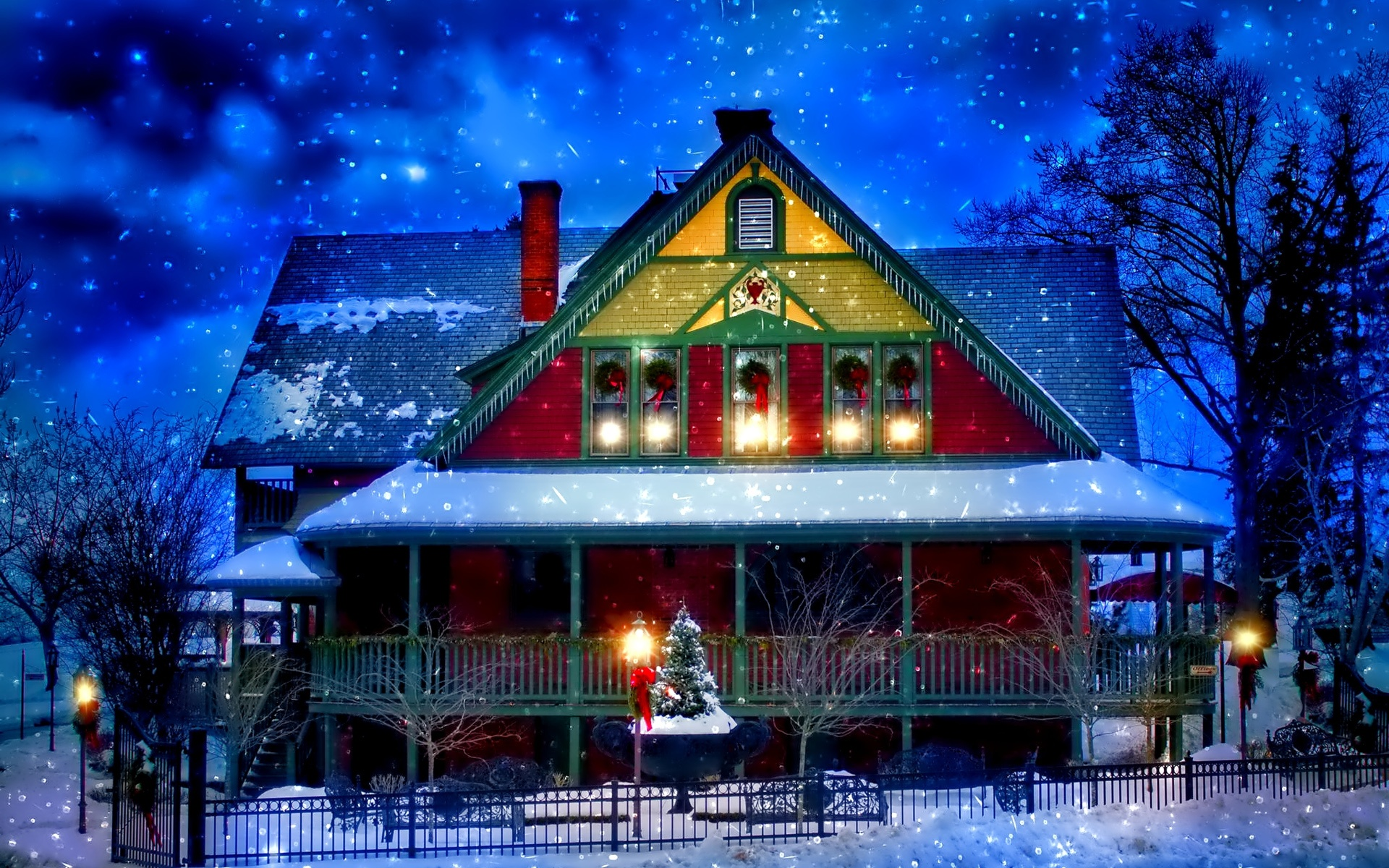 Wallpaper Snow Winter House New Year Christmas Lights Trees