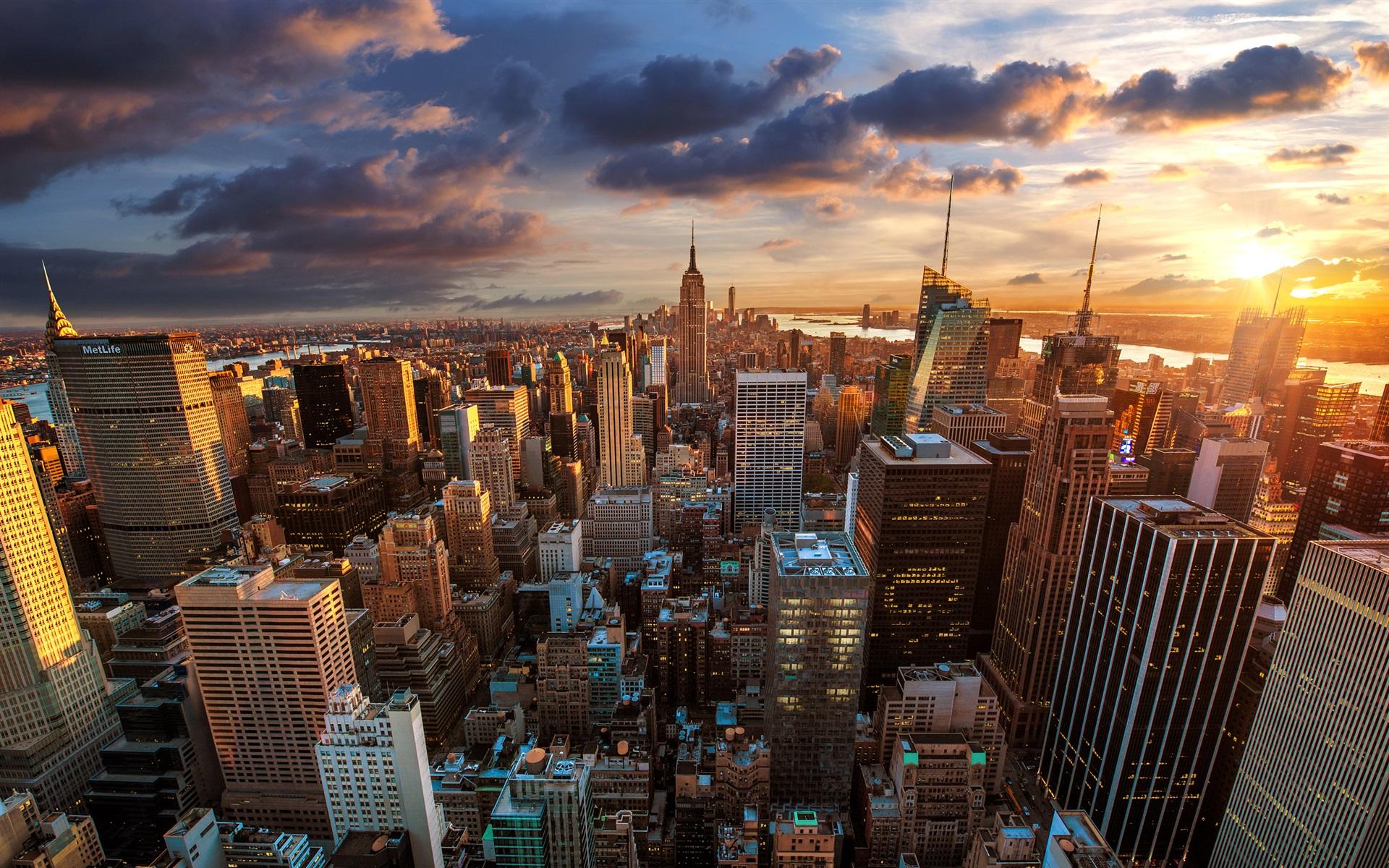 ロックフェラーセンター、高層ビル、夜明け、大都市... 大都市、ニューヨーク市 壁紙 | 192