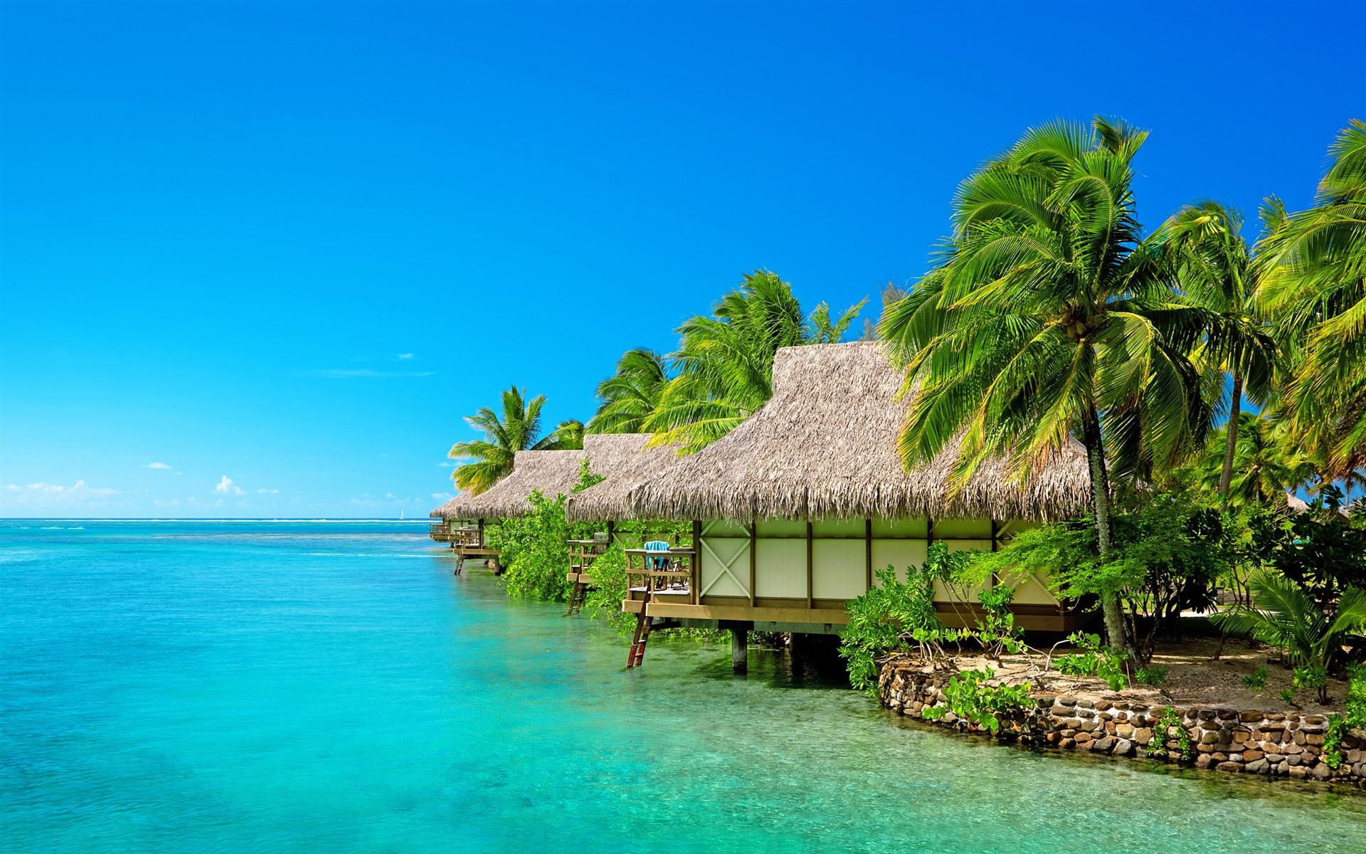 壁紙の説明: 海、青空、リゾート、バンガロー ...