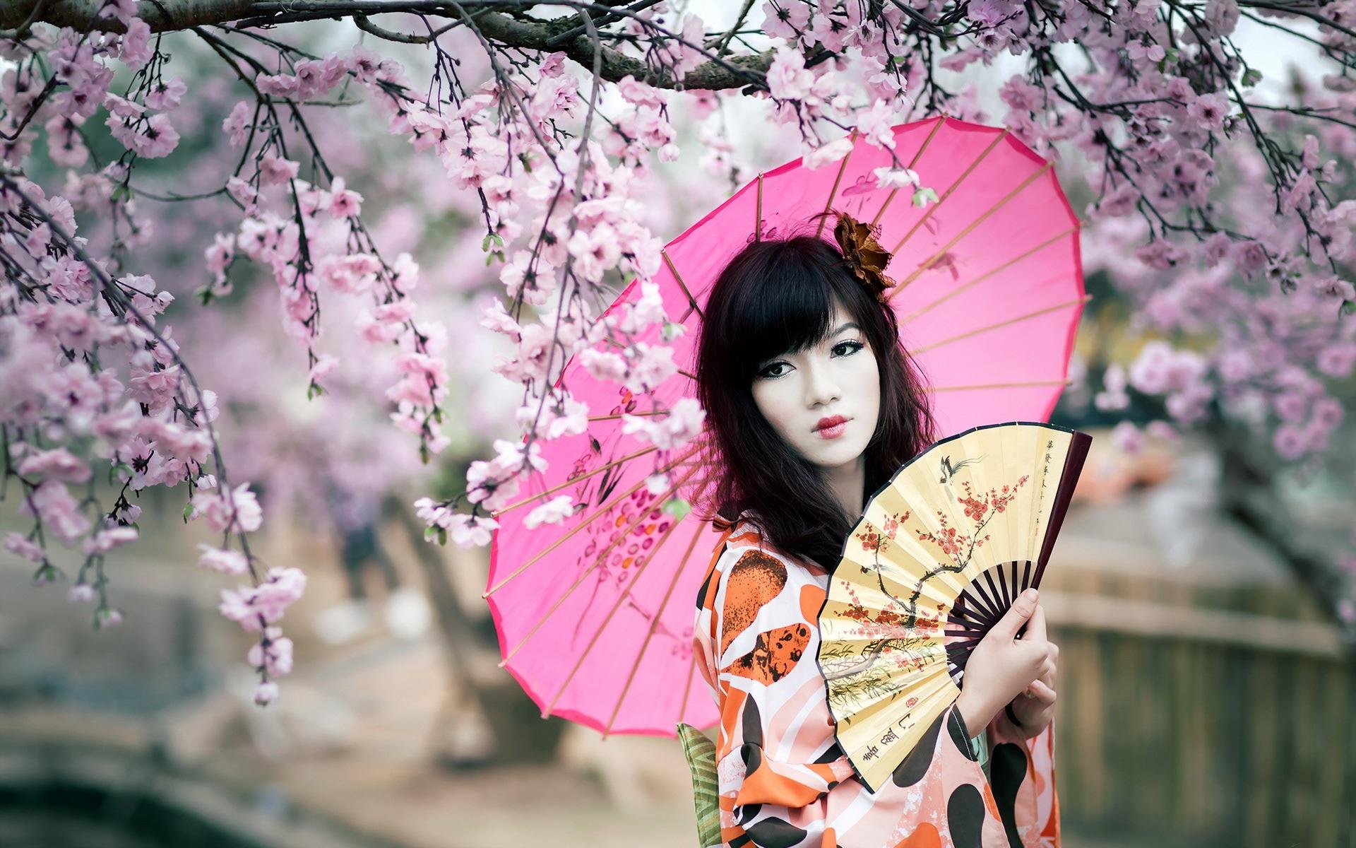 壁紙 桜 着物の女の子 傘 扇 1920x1200 Hd 無料のデスクトップの
