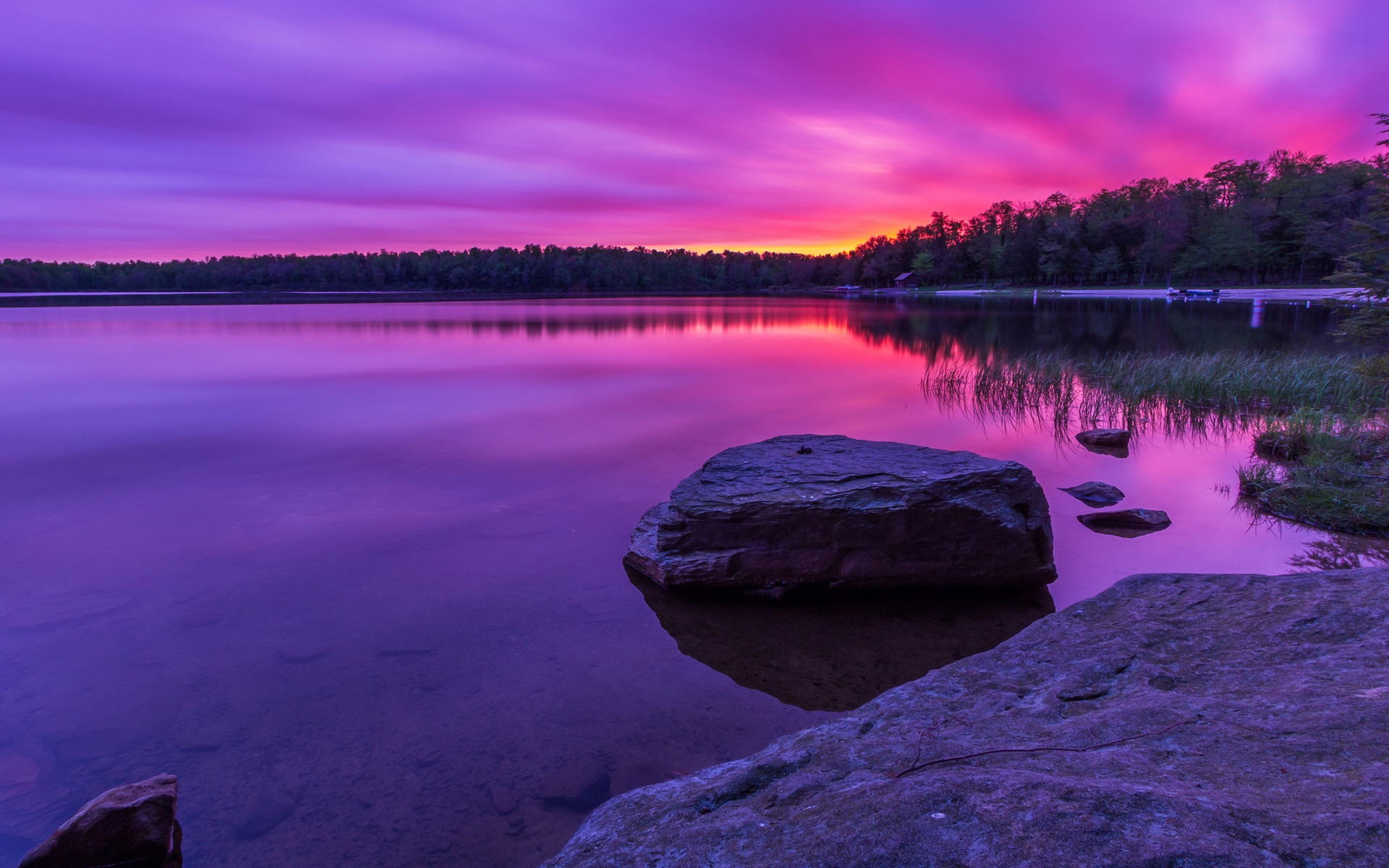 Purple Sunset Forest Lake Rocks 640x1136 Iphone 55s5c