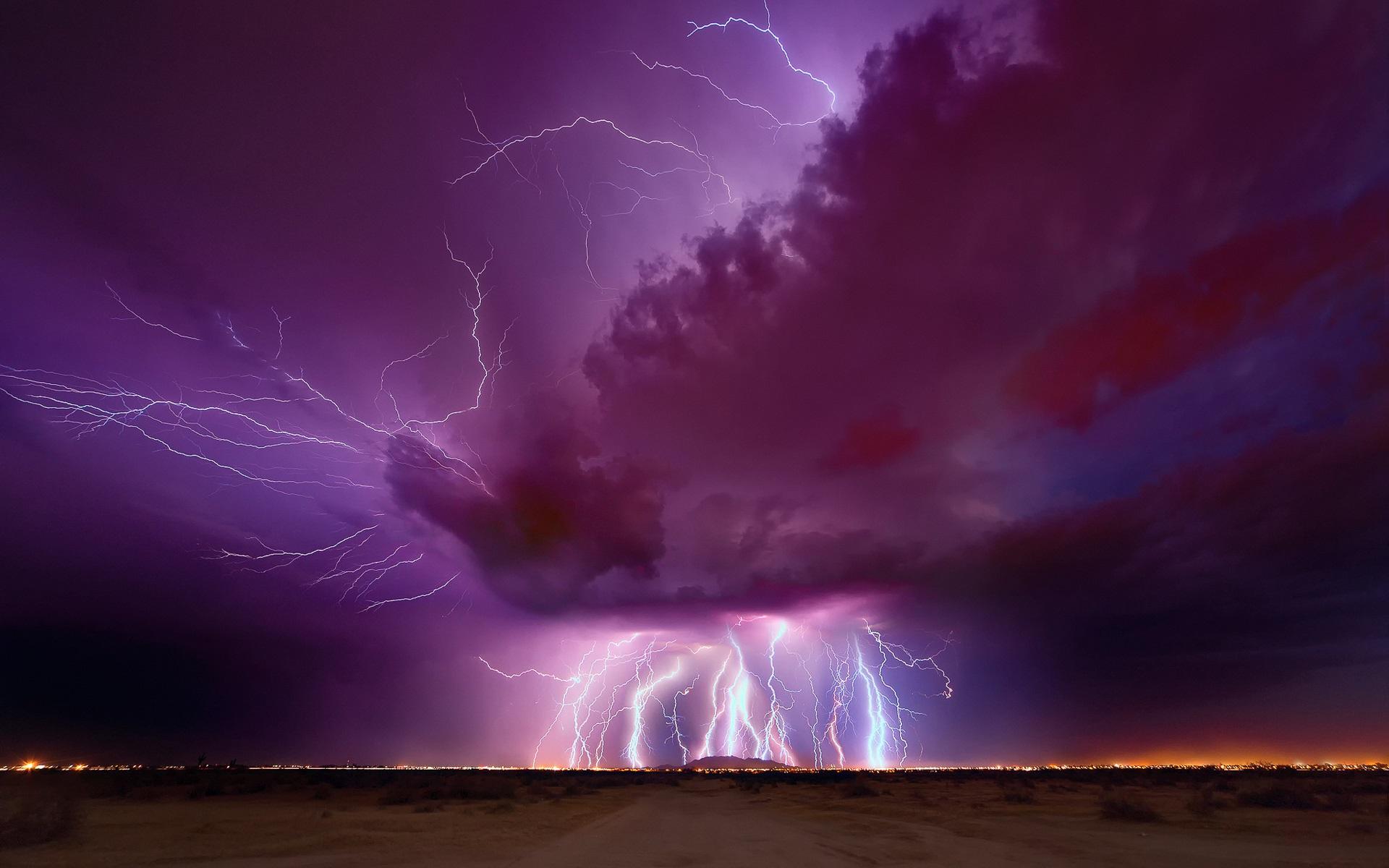 壁紙 夜 夕方 雷 稲妻 紫の空 雲 アリゾナ州 1920x1200 Hd 無料