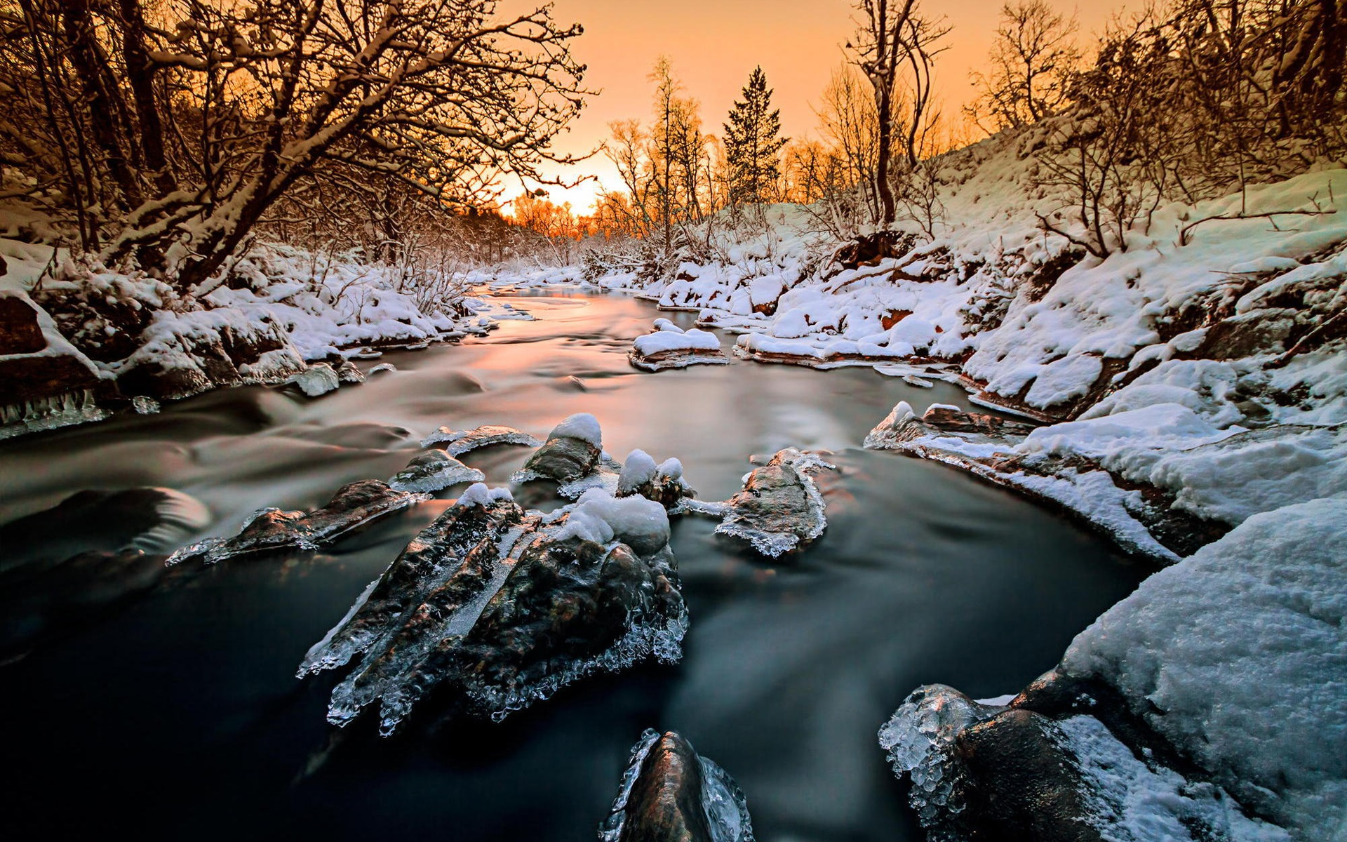 Pin Fondos Montana Nevada 1440x900 Widescreen Wallpapers: Wallpaper Norway, Forest, Trees, River, Snow, Ice, Winter