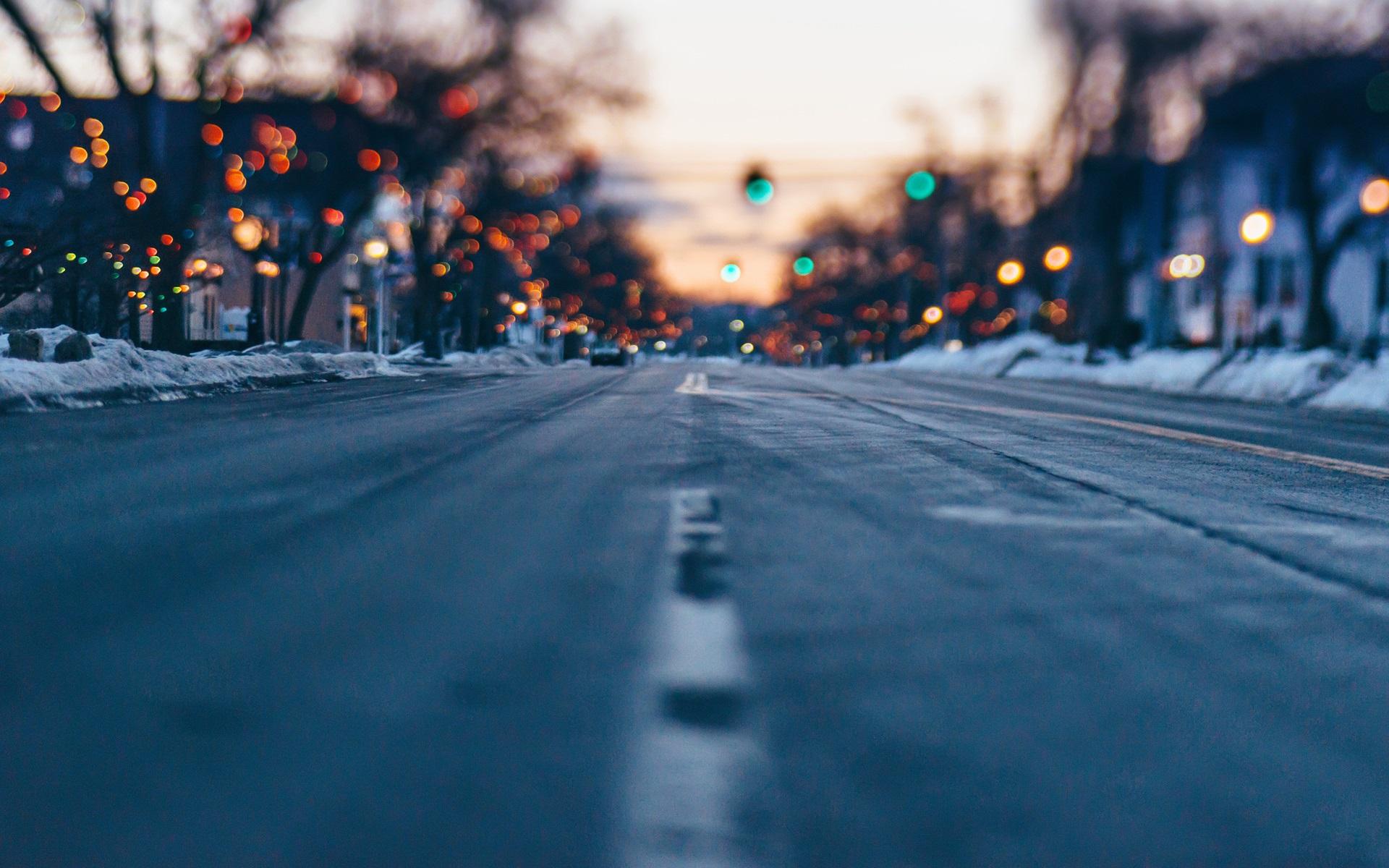 Wallpaper City Street Bokeh Winter Road Lights 1920x1200 HD