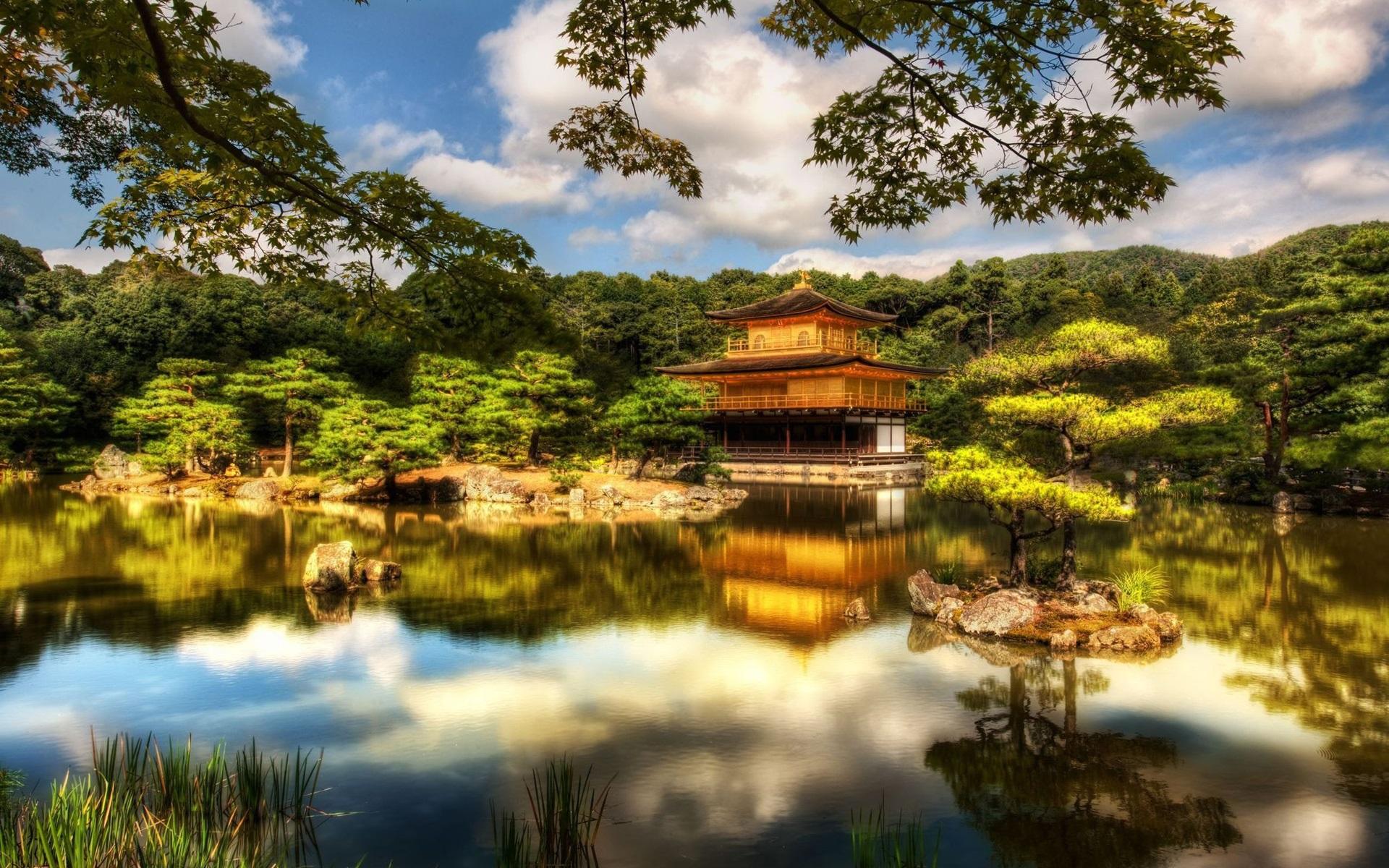 Wallpaper Temple Pavilion Kyoto Japan Trees Lake