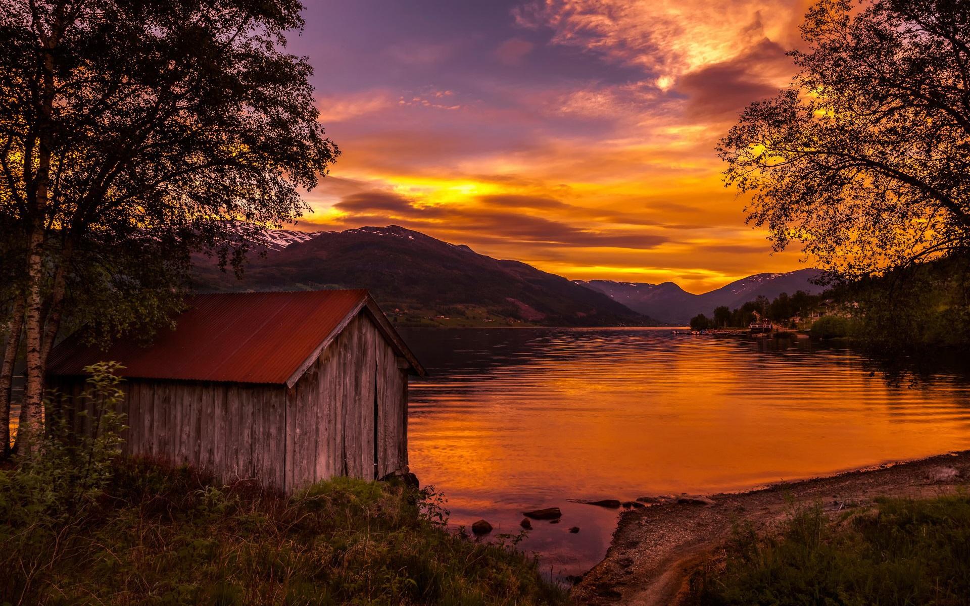 Norwegen natur landschaft see sonnenuntergang b ume for Norwegen haus