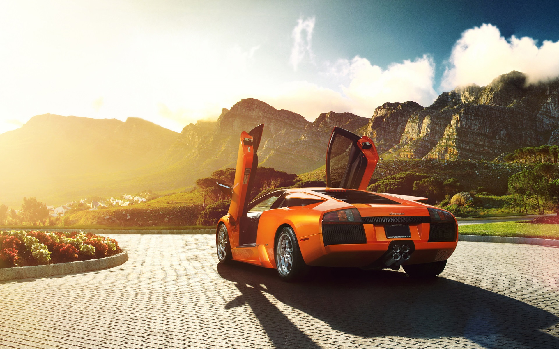 Wallpaper Lamborghini Murcielago V12 Orange Supercar Back View