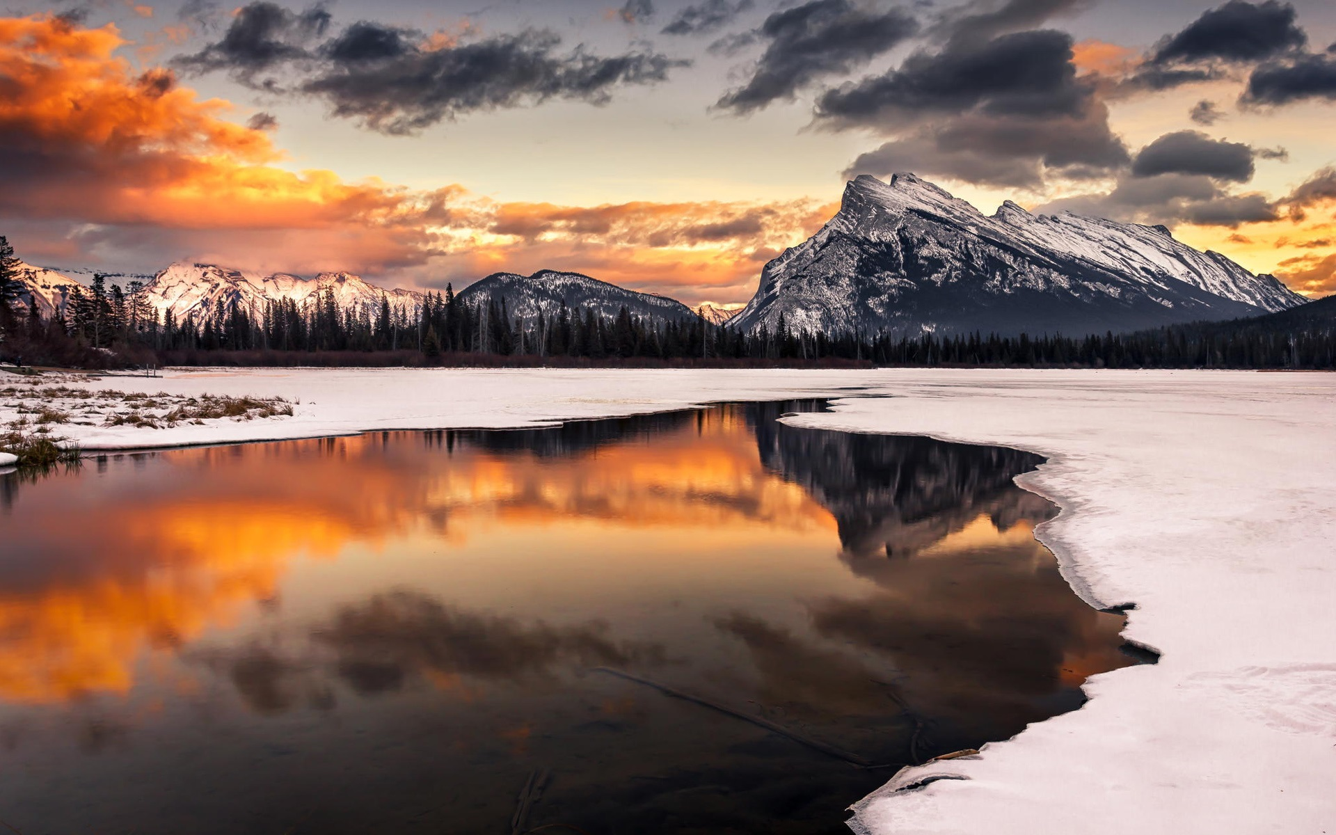 Wallpaper Winter Snow Sunset Mountain Lake Reflection Trees