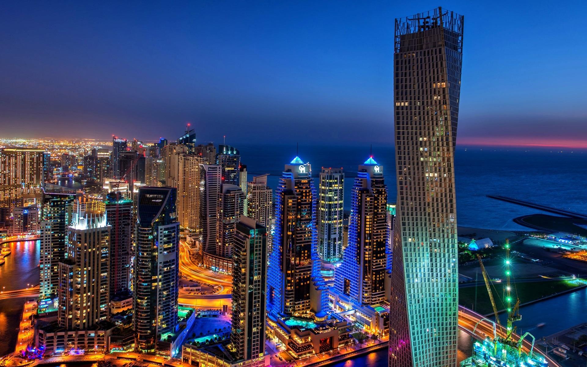 Fondos De Pantalla Dubai, Ciudad, Noche, Luces, Edificios