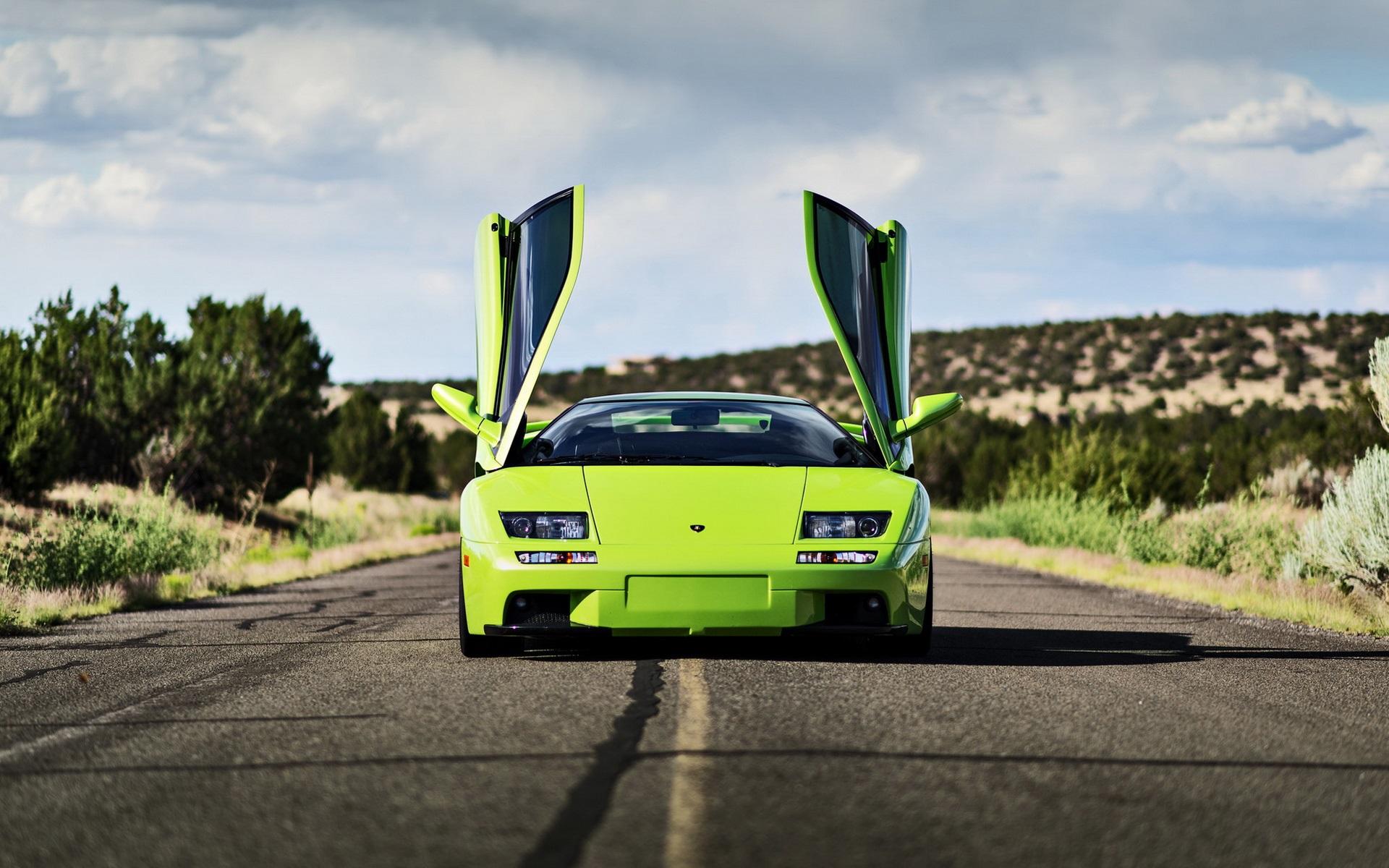 Wallpaper Green Lamborghini Supercar Doors Open 1920x1200 Hd