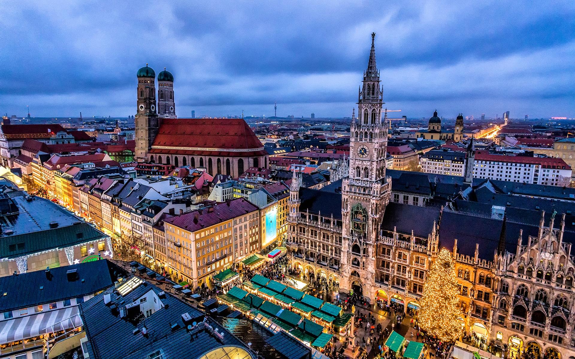 Hintergrundbilder Beschreibung: München, Deutschland, Stadt, Nacht ...