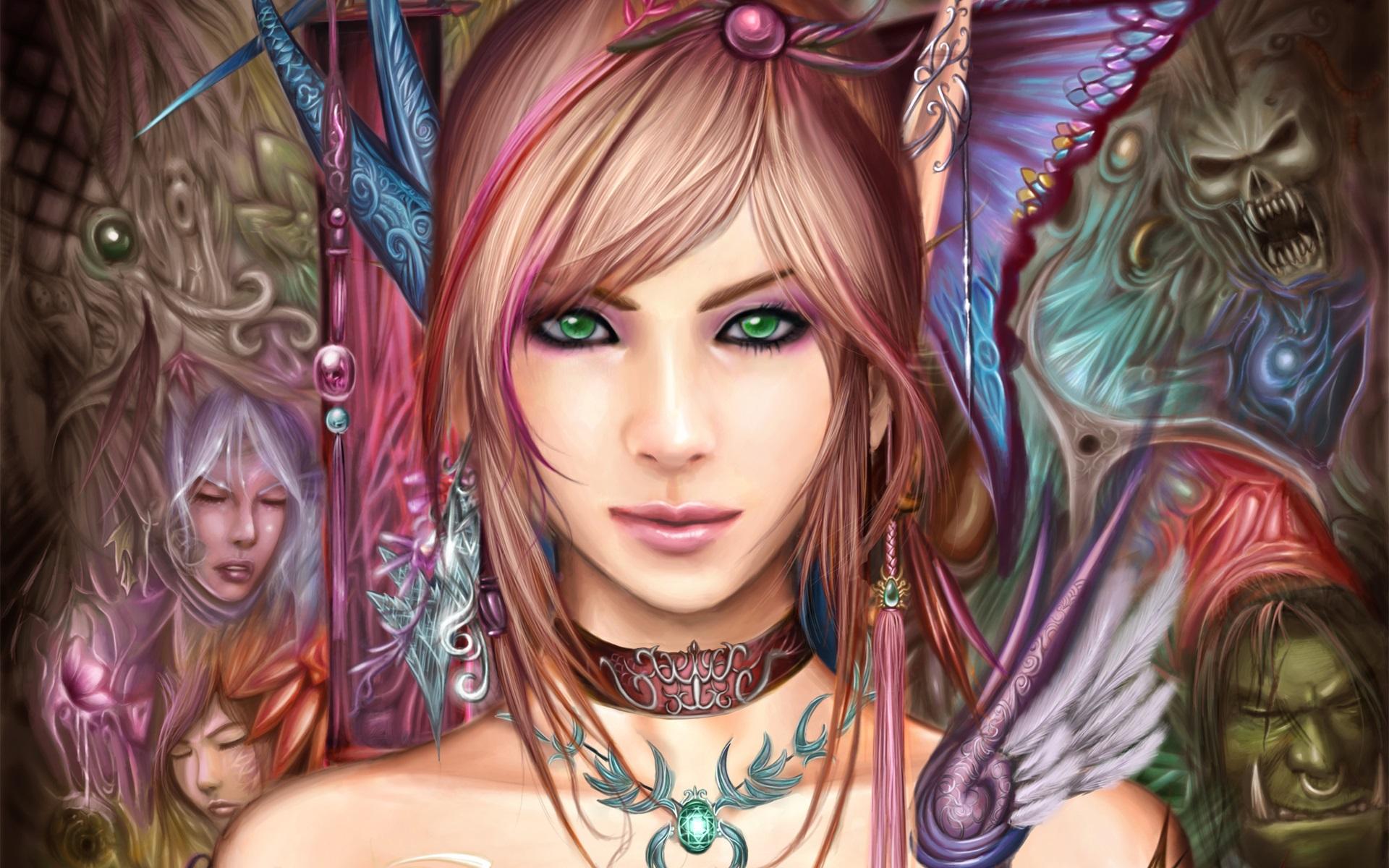 Beautiful fantasy girl, green eyes, brown hair Wallpaper - 1920x1200